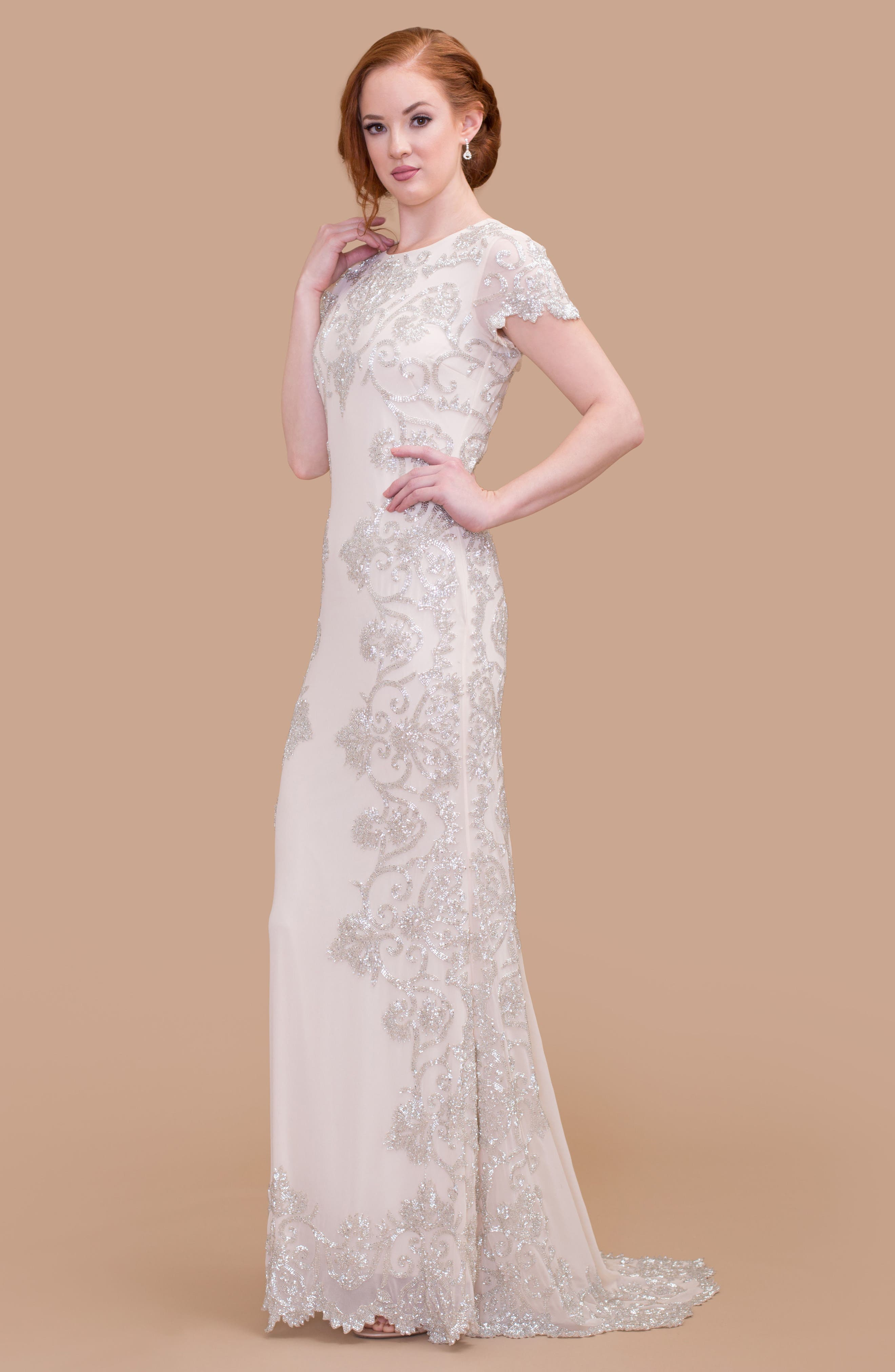 Beaded Georgette Cap Sleeve Gown,                             Main thumbnail 1, color,                             VANILLA