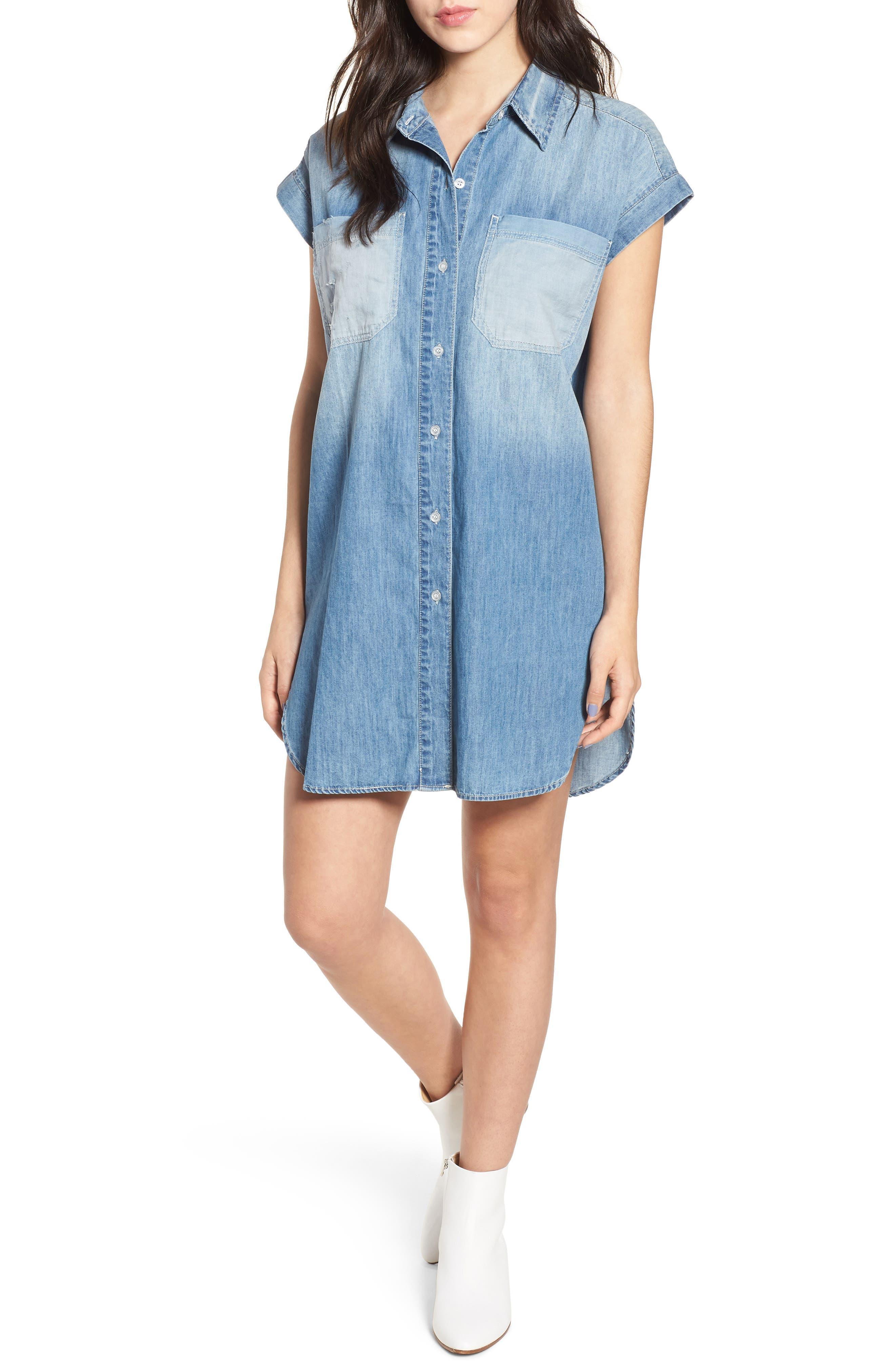 Chambray Shirtdress,                         Main,                         color, 425