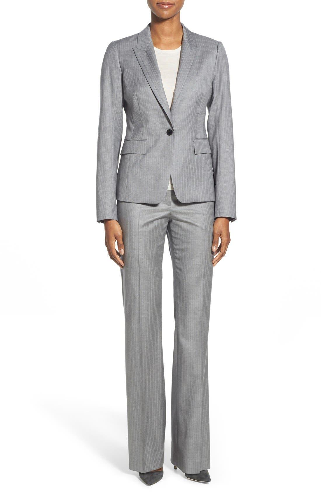 'Jelenna' Pinstripe One-Button Suit Jacket,                             Alternate thumbnail 2, color,                             060