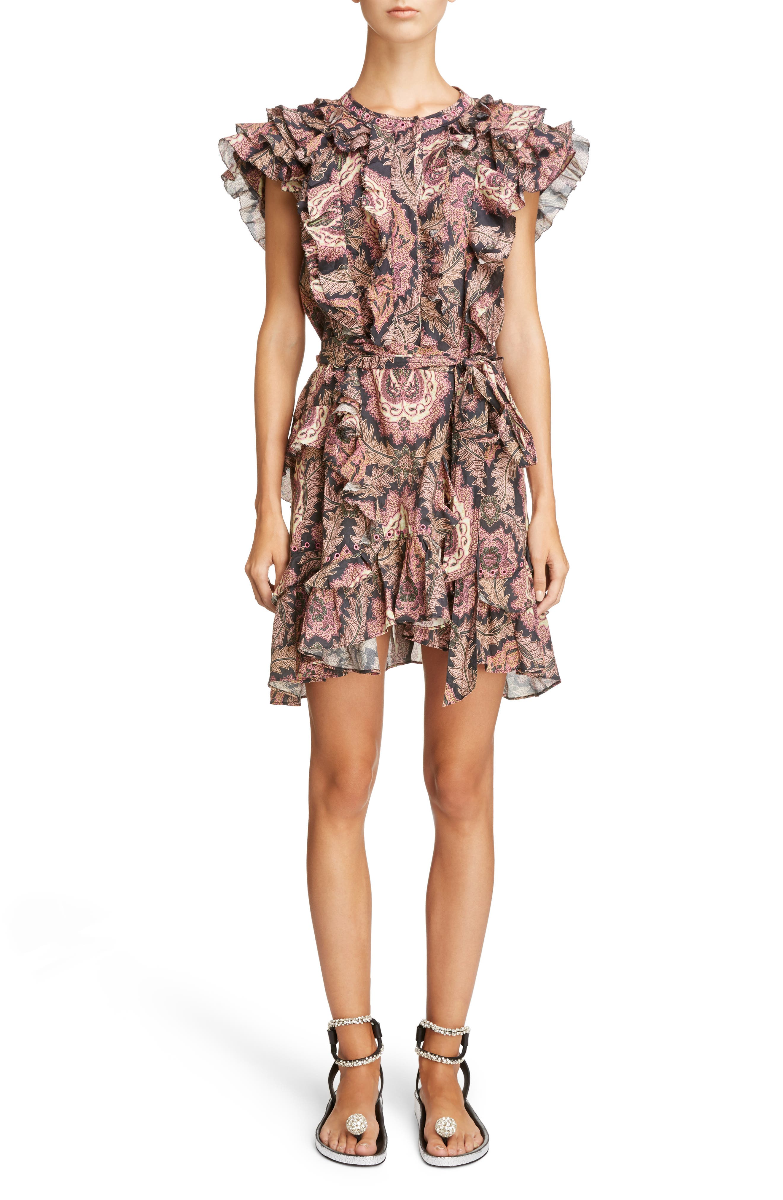 Paisley Print Ruffle Trim Dress,                             Main thumbnail 1, color,                             600