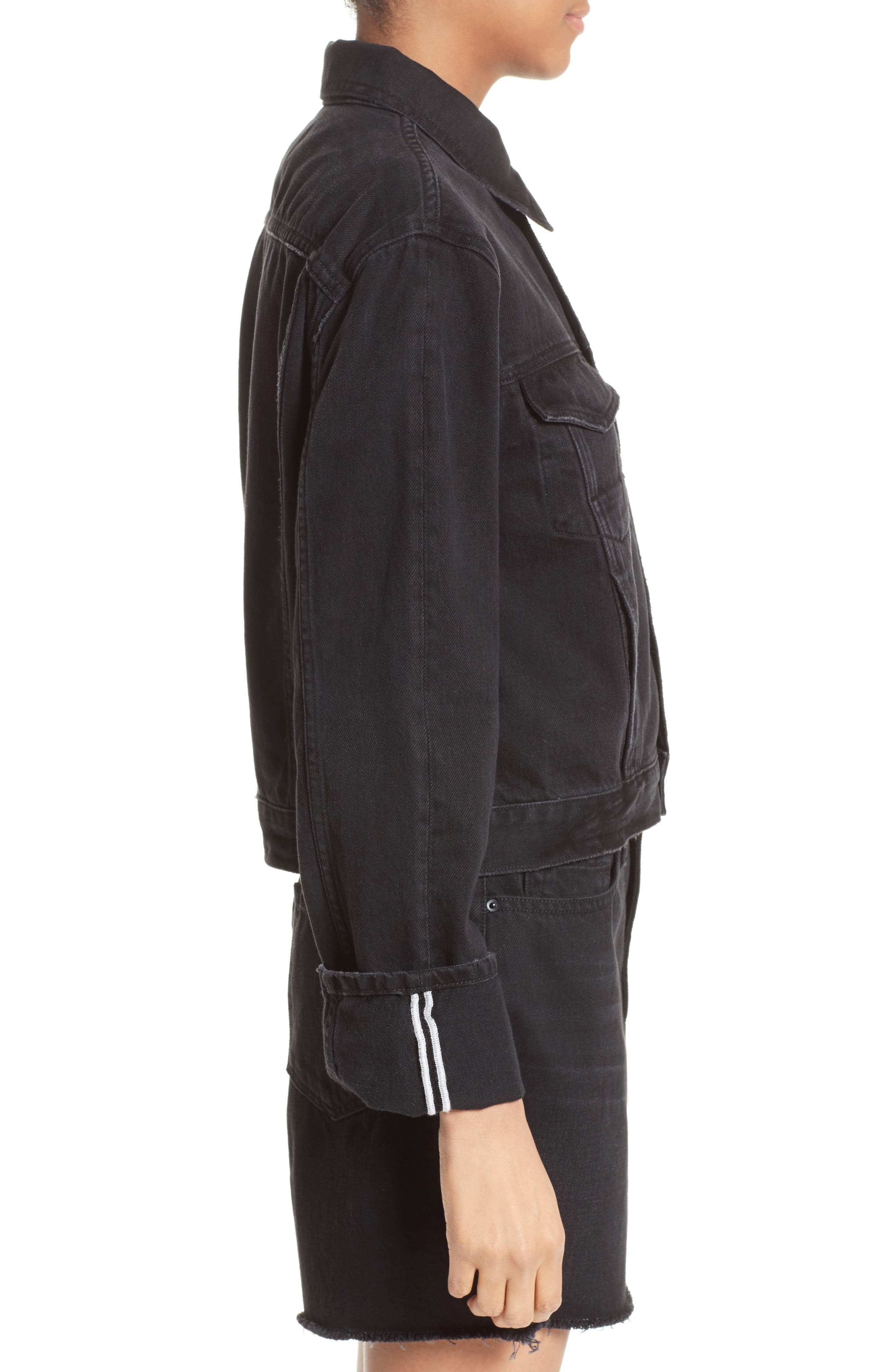 Le Cuffed Denim Jacket,                             Alternate thumbnail 3, color,                             001