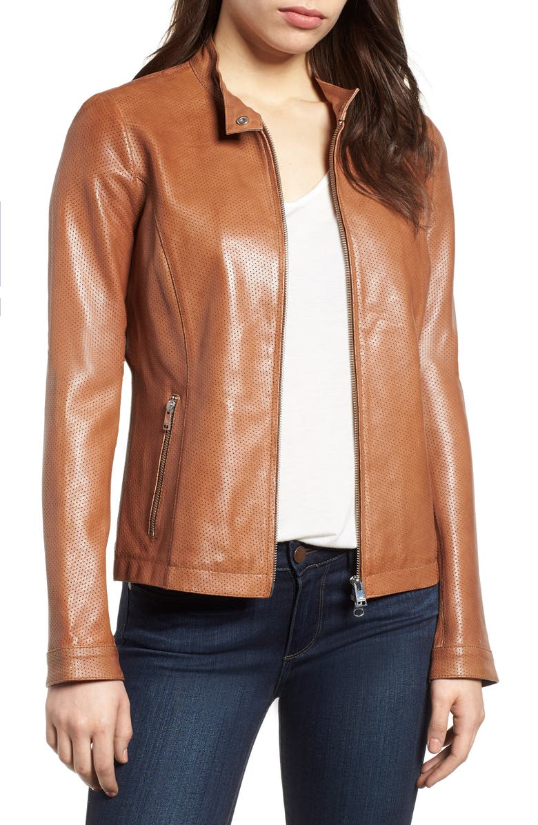 Perforated Leather Biker Jacket,                         Main,                         color, TAN