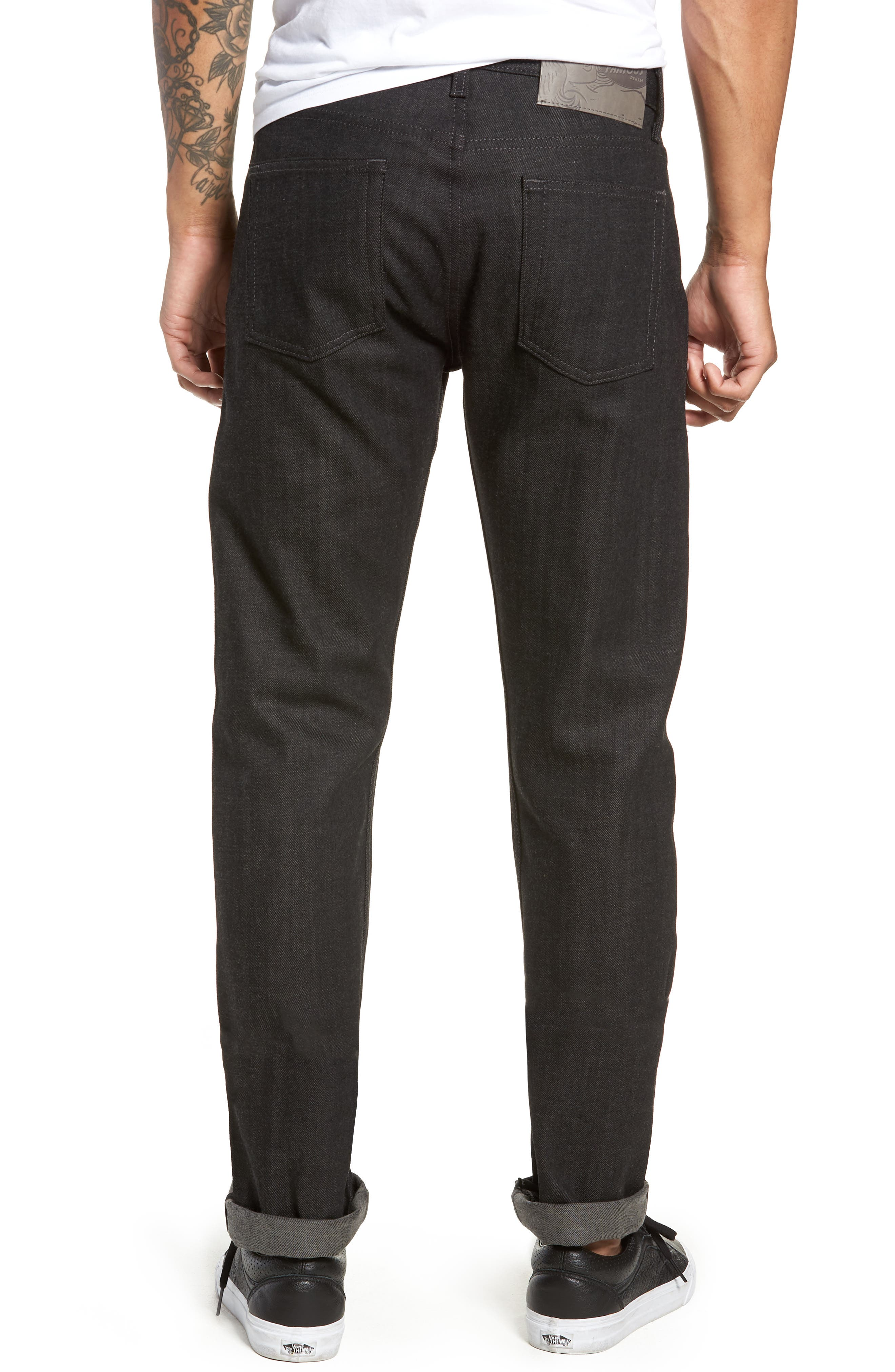 Weird Guy Slim Fit Jeans,                             Alternate thumbnail 2, color,                             BLACK X GREY STRETCH SELVEDGE