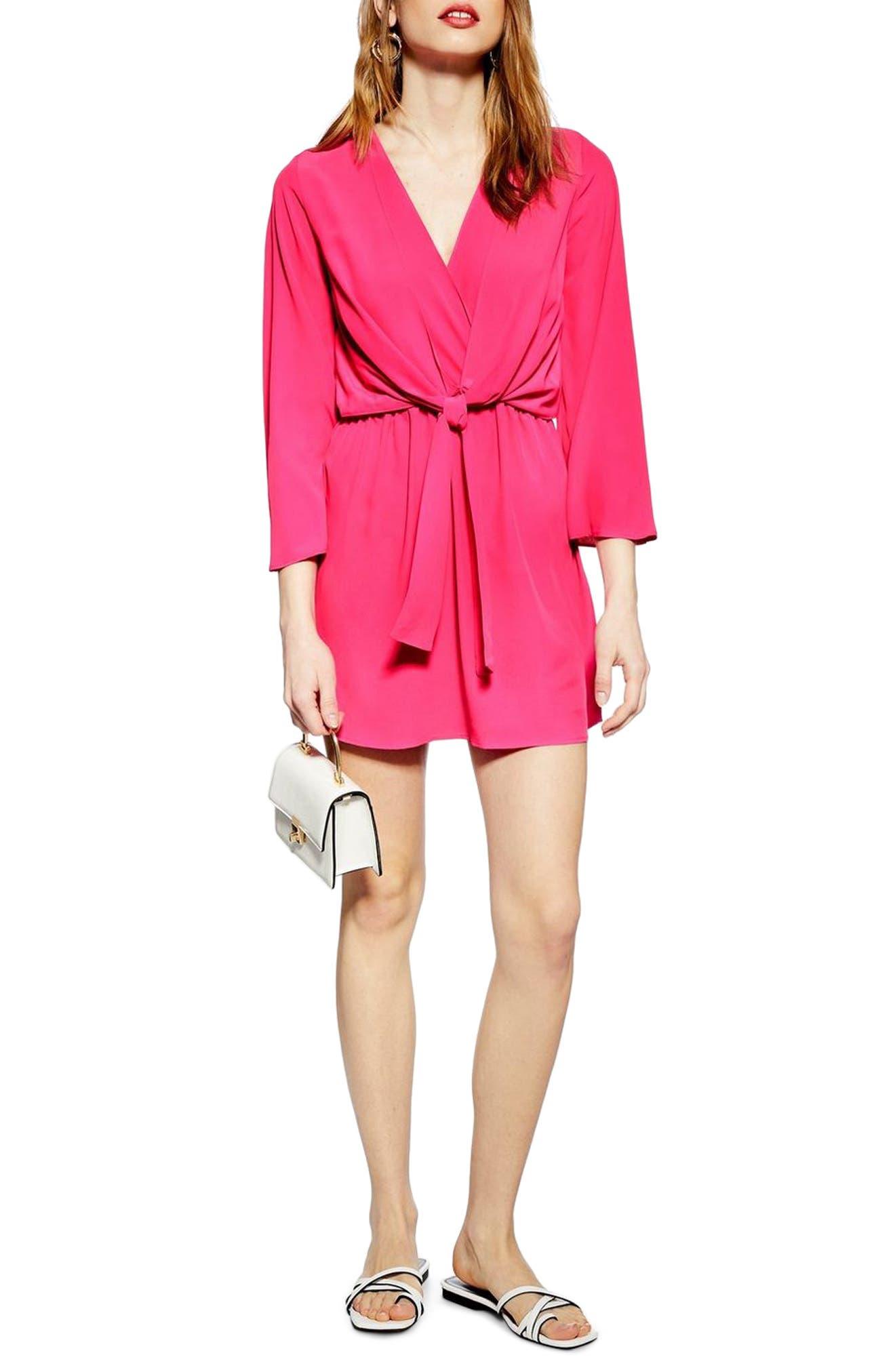 Topshop Tiffany Knot Minidress, US (fits like 0) - Pink
