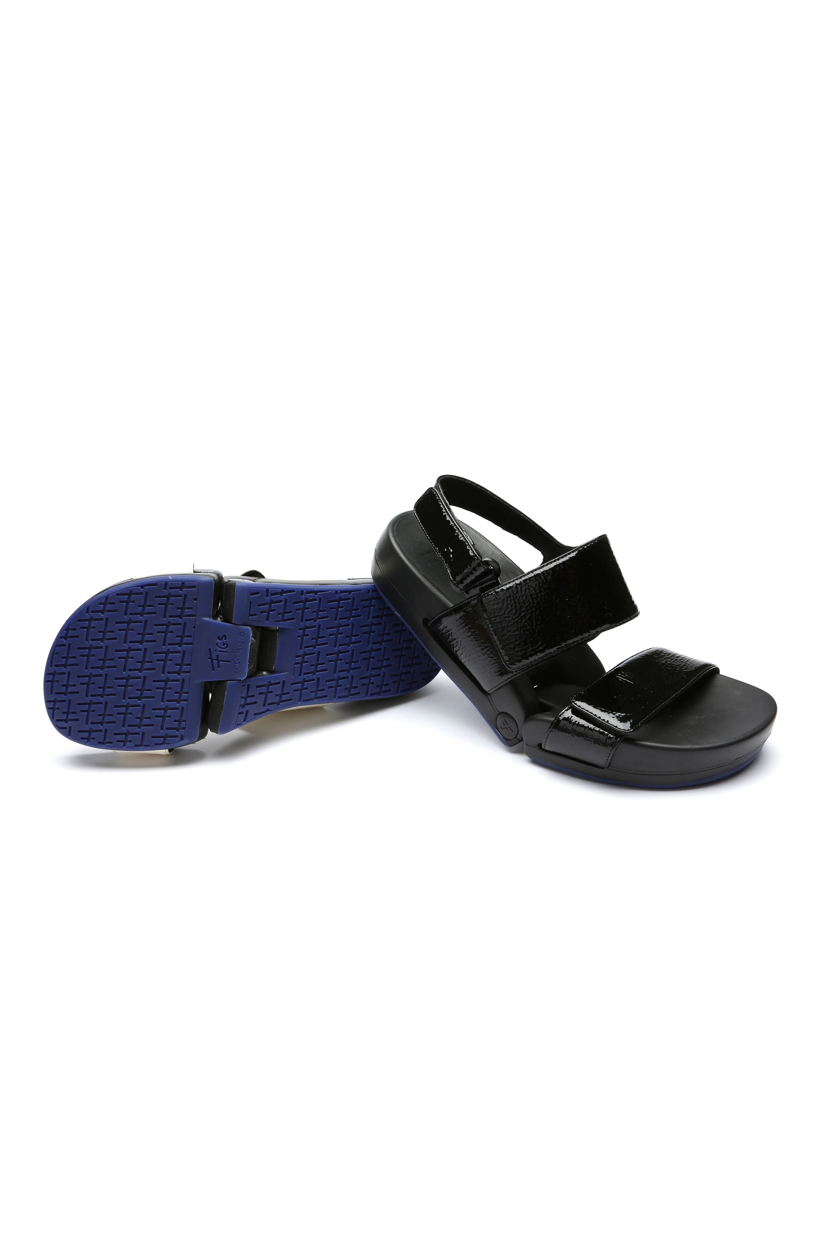 Figulous Sandal,                             Alternate thumbnail 7, color,                             BLACK CRINKLE PATENT LEATHER