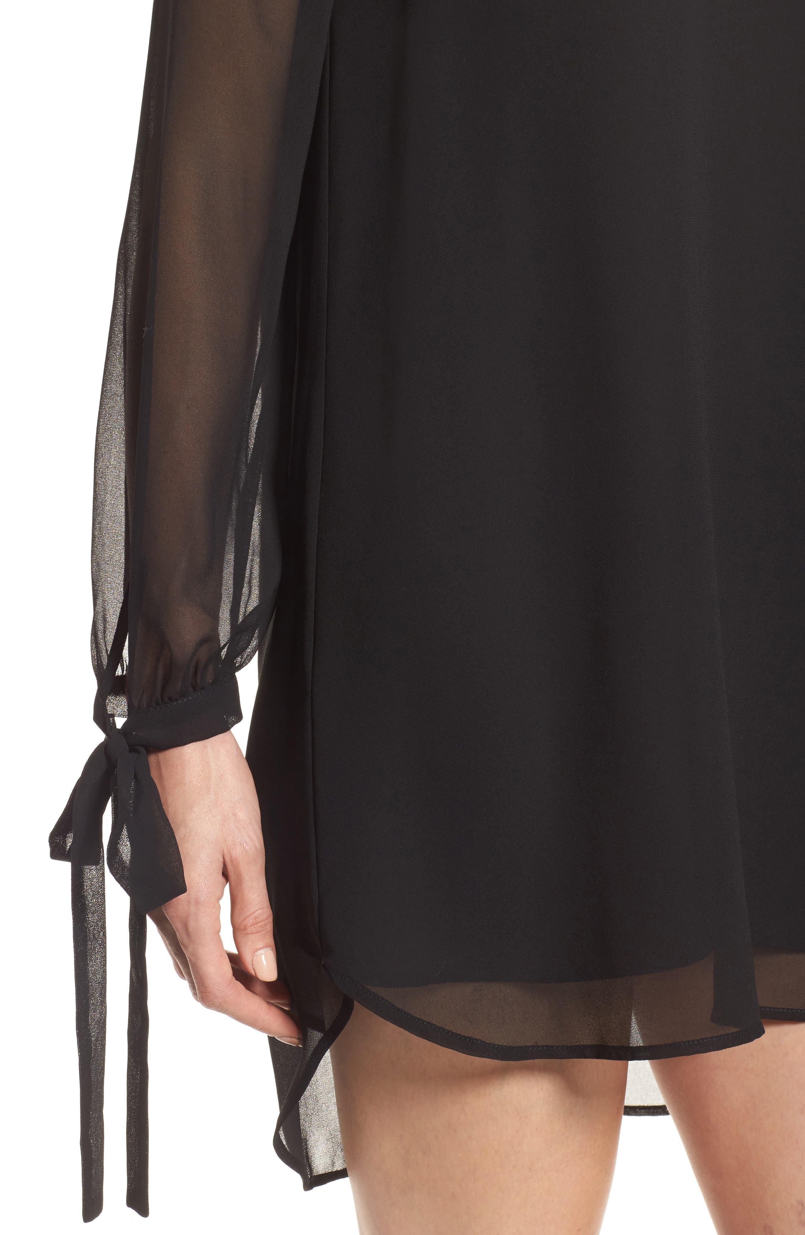 Tie-Sleeve Shift Dress,                             Alternate thumbnail 4, color,                             001