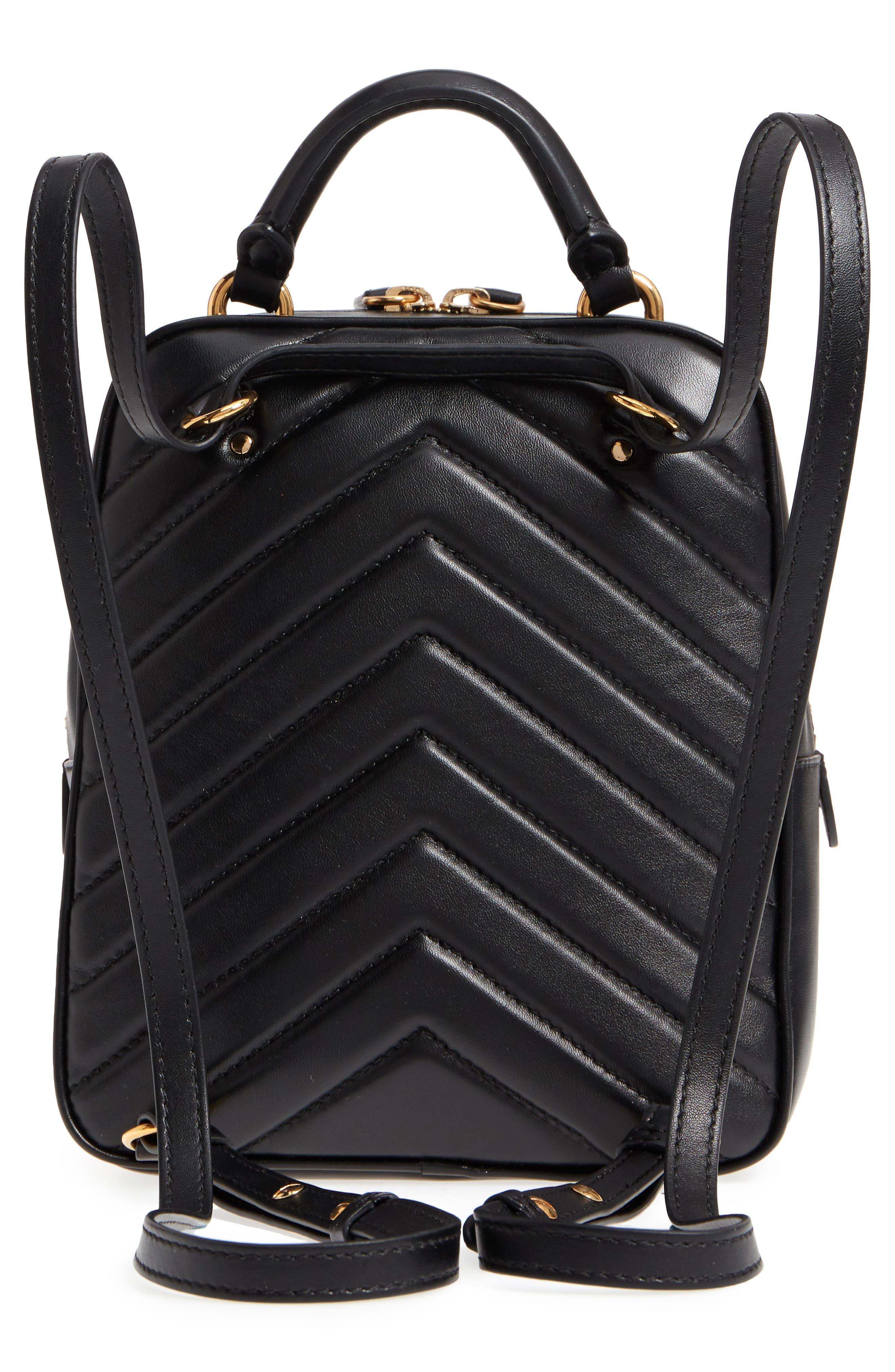 Small Quilted Faux Leather Convertible Backpack,                             Alternate thumbnail 4, color,                             BLACK