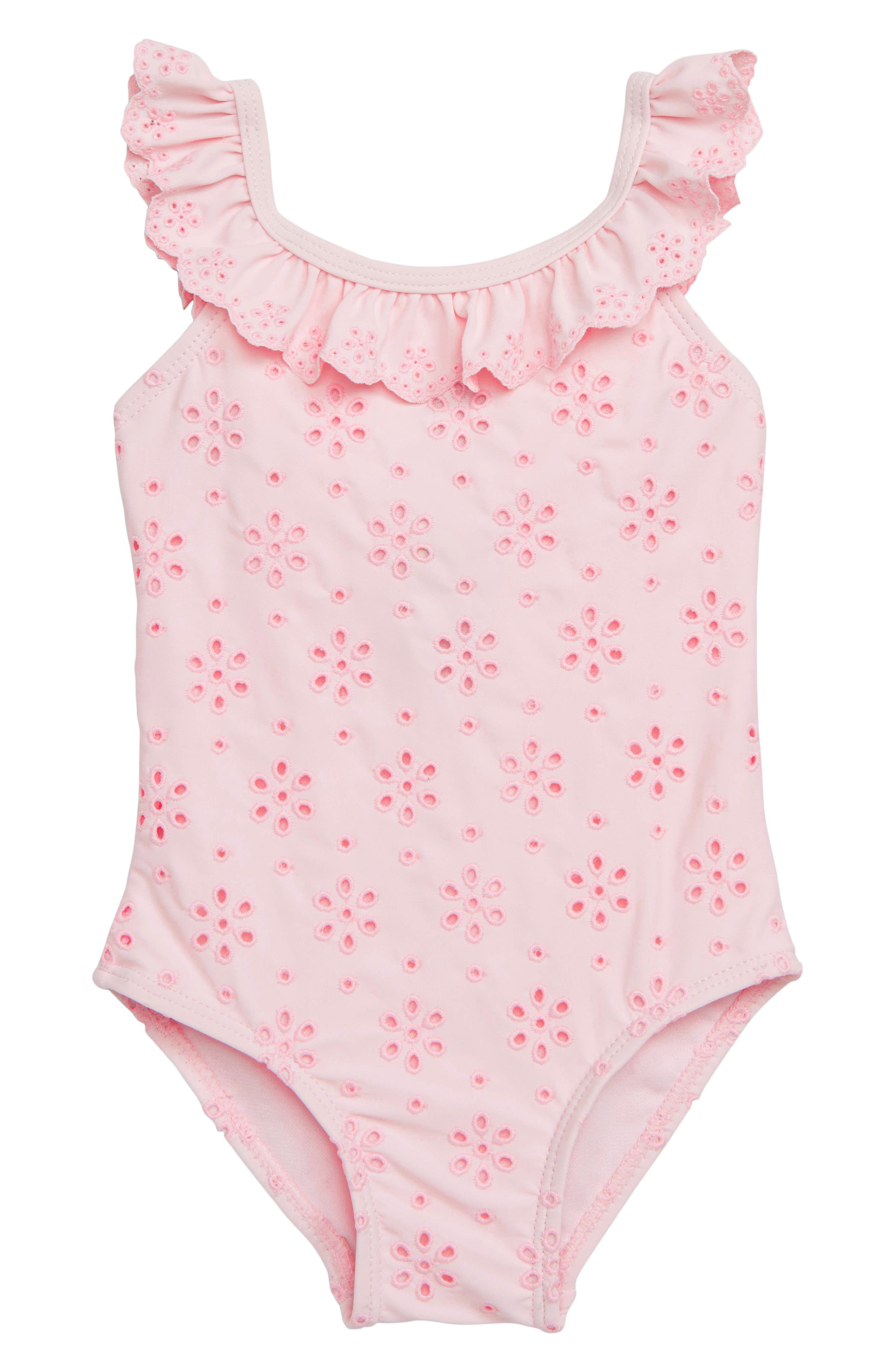 Ruffle Eyelet One-Piece Swimsuit,                             Main thumbnail 1, color,                             PINK