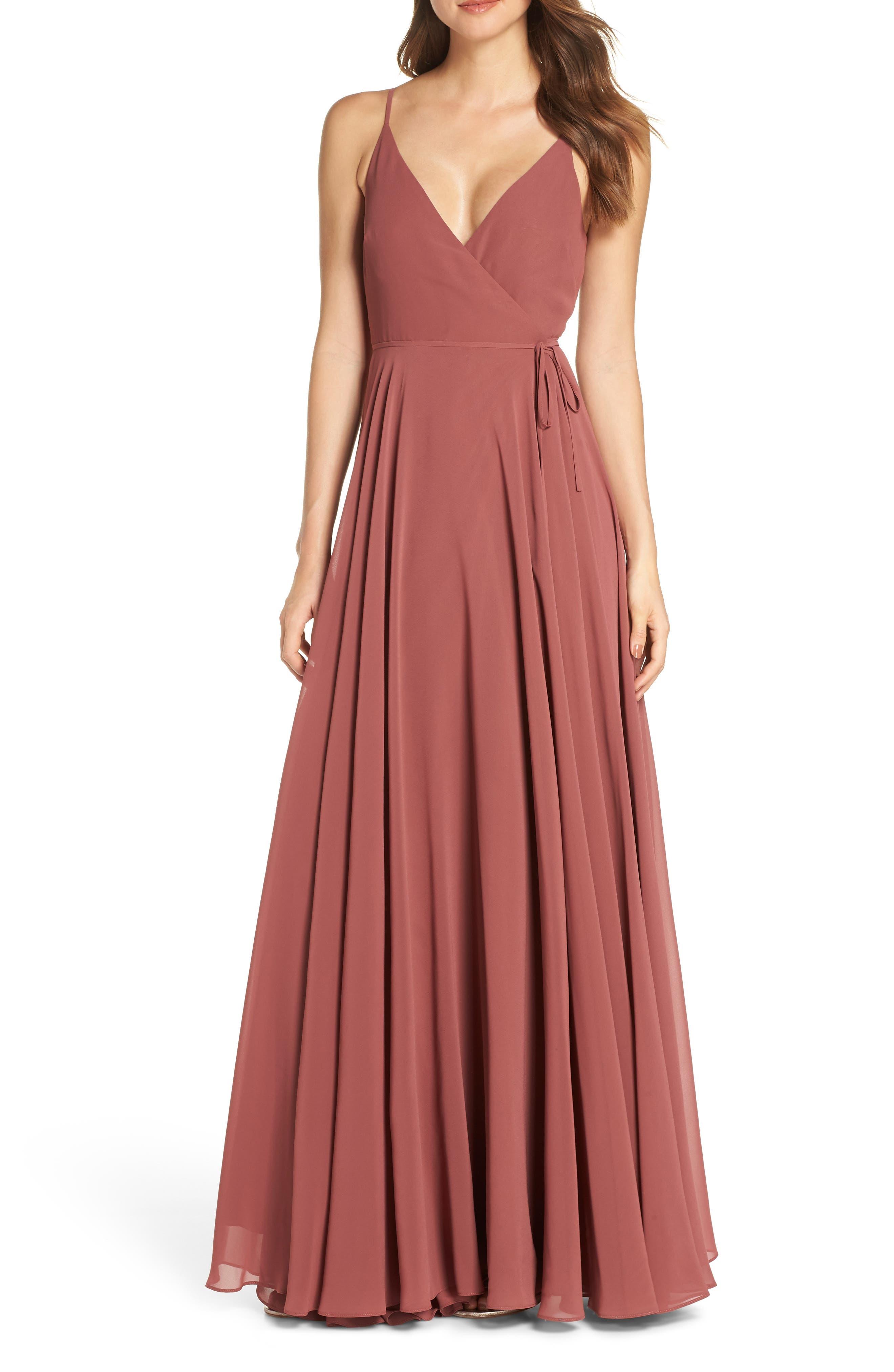 Jenny Yoo James Sleeveless Wrap Chiffon Evening Dress, Red