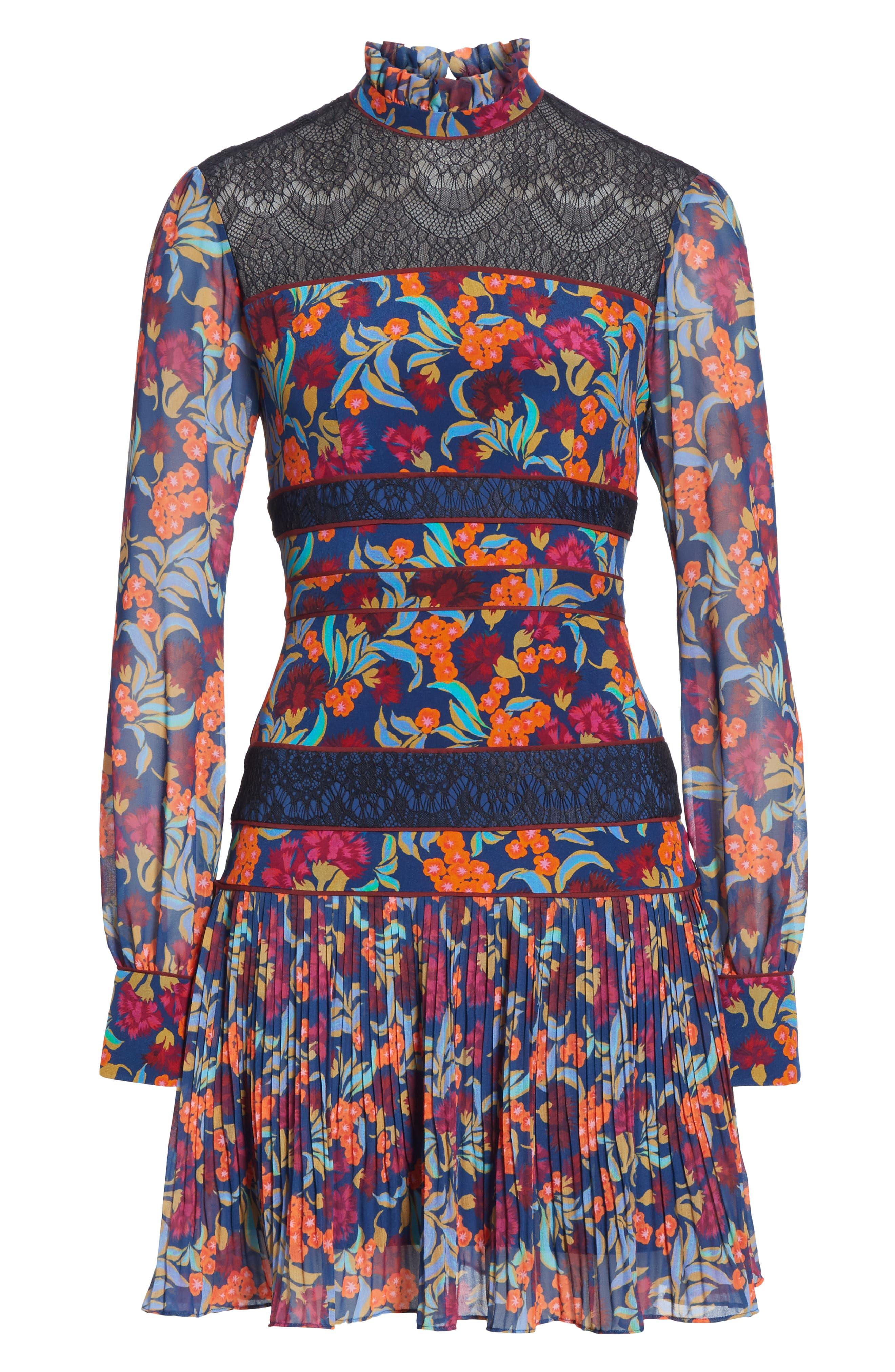 Dina Lace Inset Floral Print Dress,                             Alternate thumbnail 7, color,                             TROPICAL HYDRANGEA
