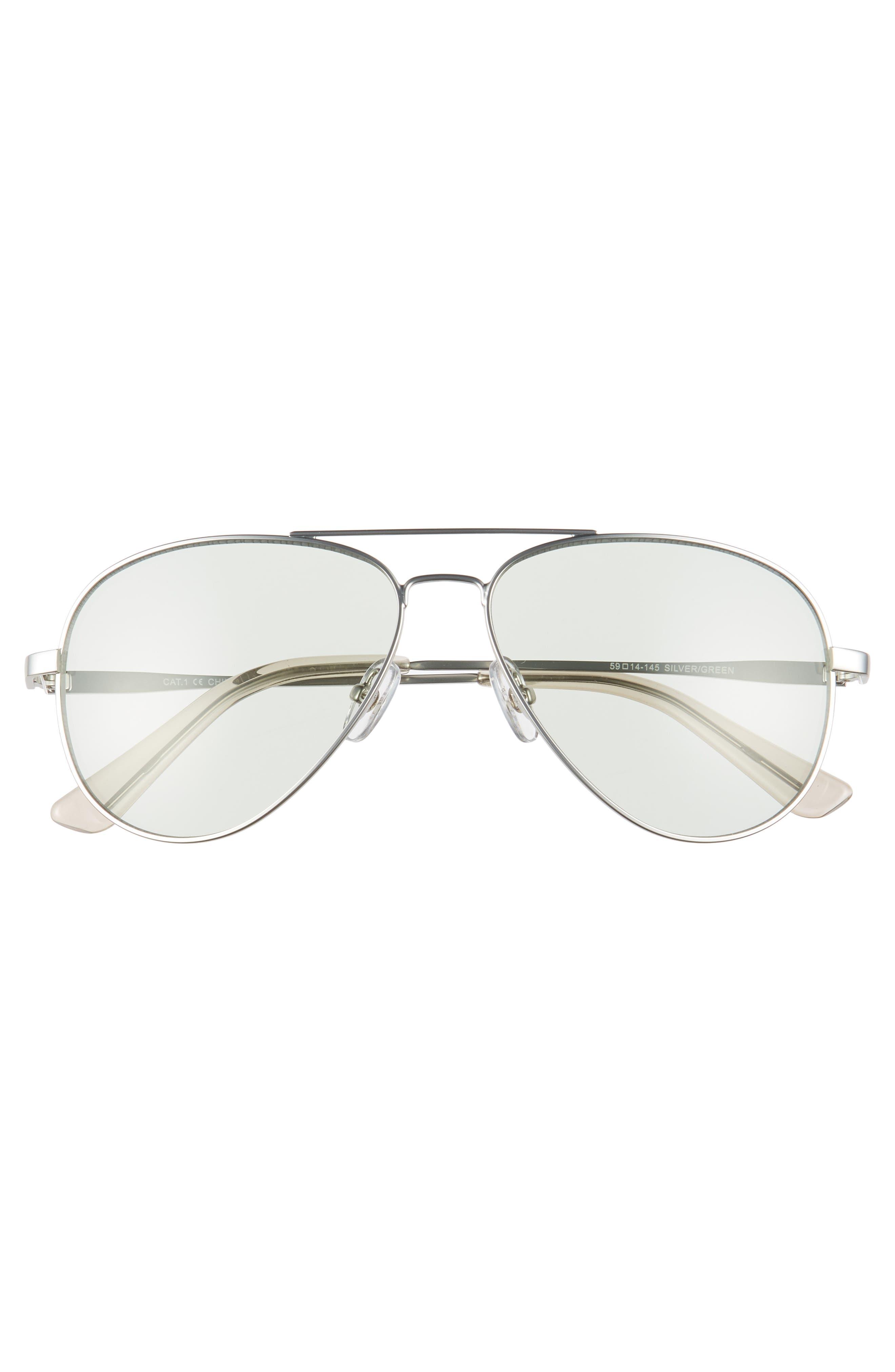 Davis 59mm Aviator Sunglasses,                             Alternate thumbnail 2, color,                             SILVER/ GREEN