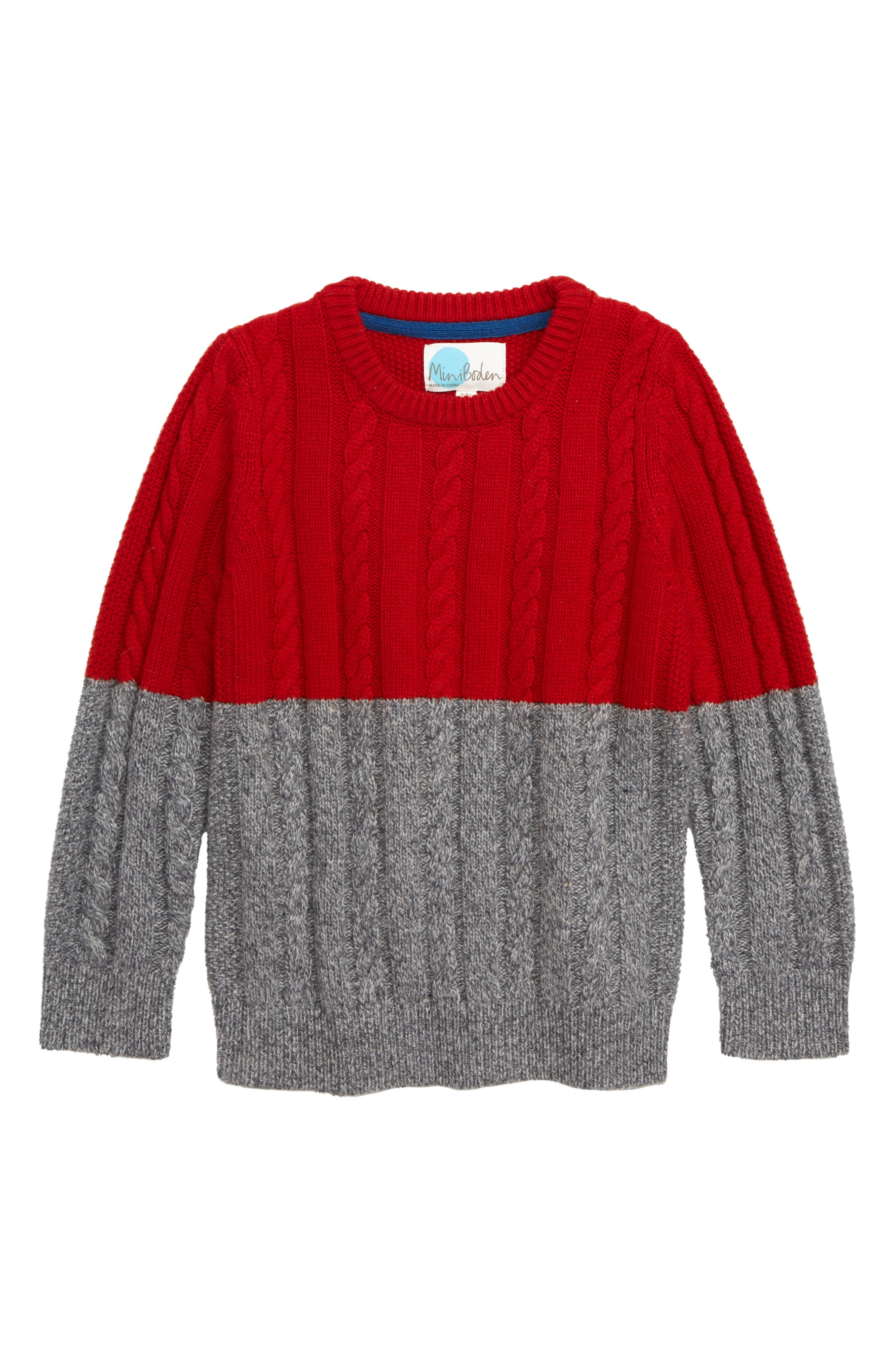 Boys Mini Boden Colorblock Cable Knit Sweater Size 910Y  Blue