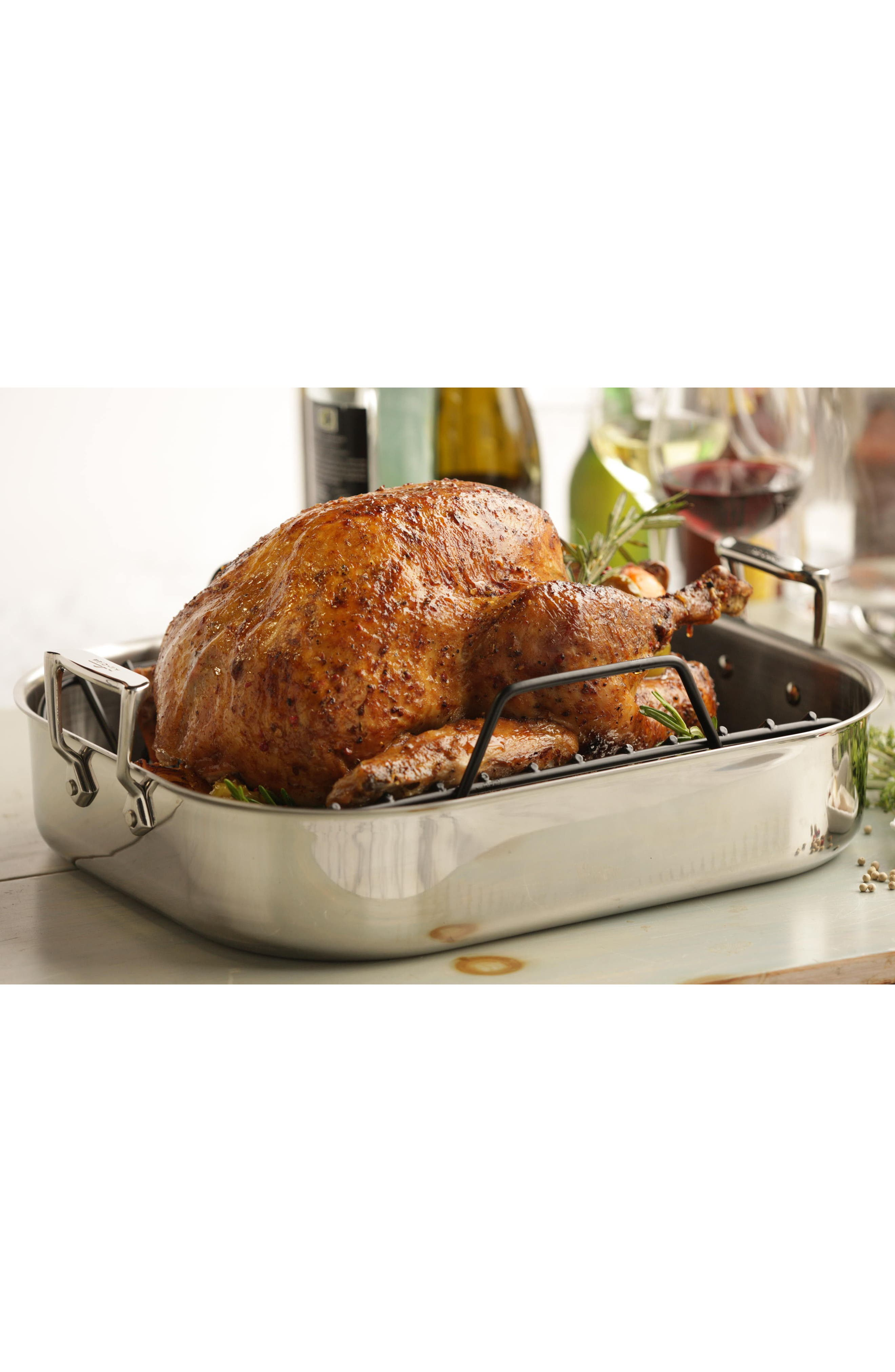 ALL-CLAD,                             Large Stainless Steel Roasting Pan & Roaster Rack,                             Alternate thumbnail 4, color,                             STAINLESS
