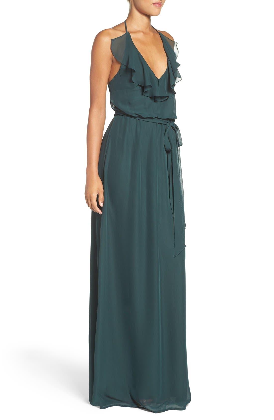 'Dani' Ruffle Neck V-Neck Halter Gown,                             Alternate thumbnail 8, color,