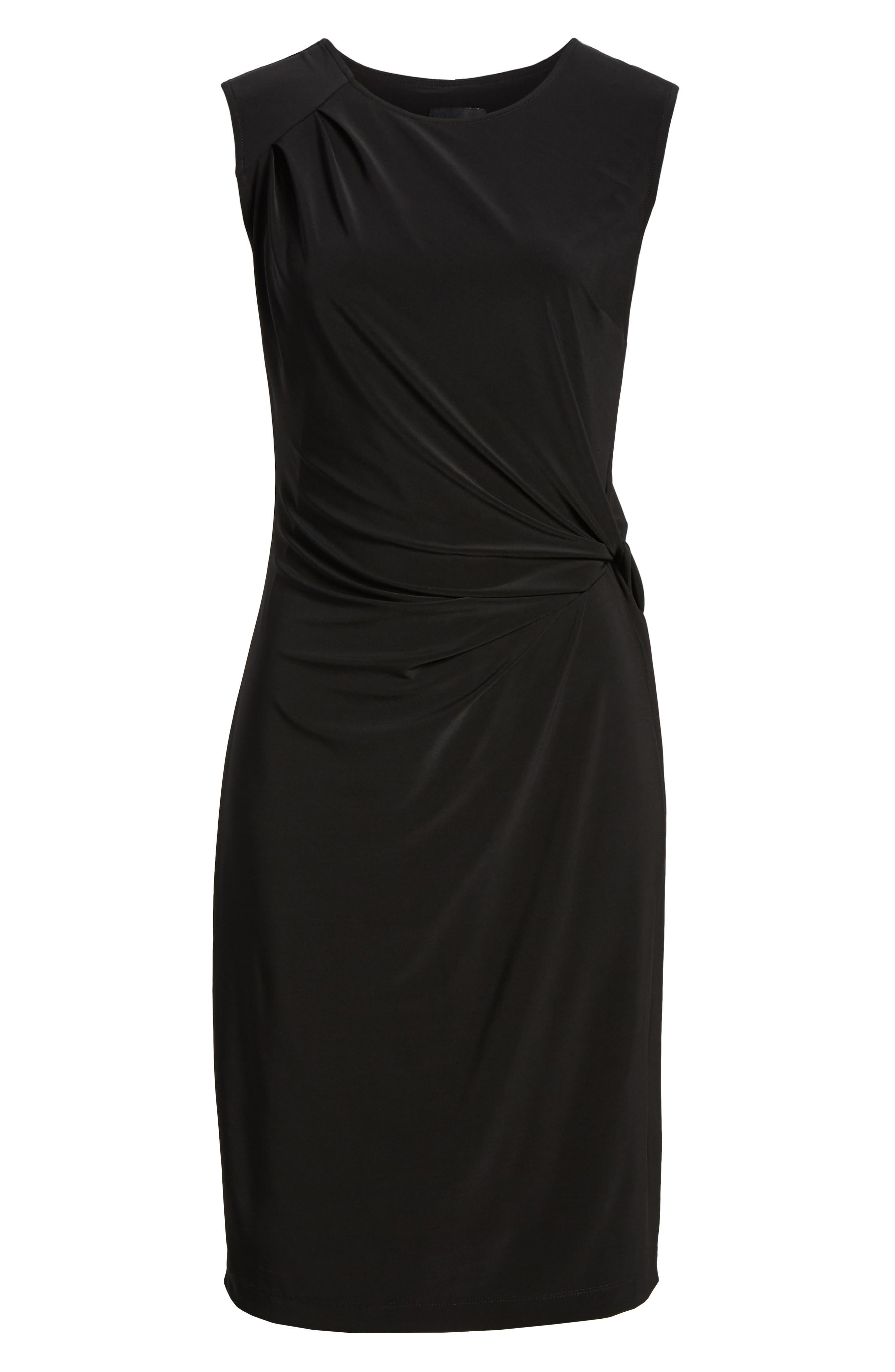 Twist Side Matte Jersey Dress,                             Alternate thumbnail 6, color,                             004