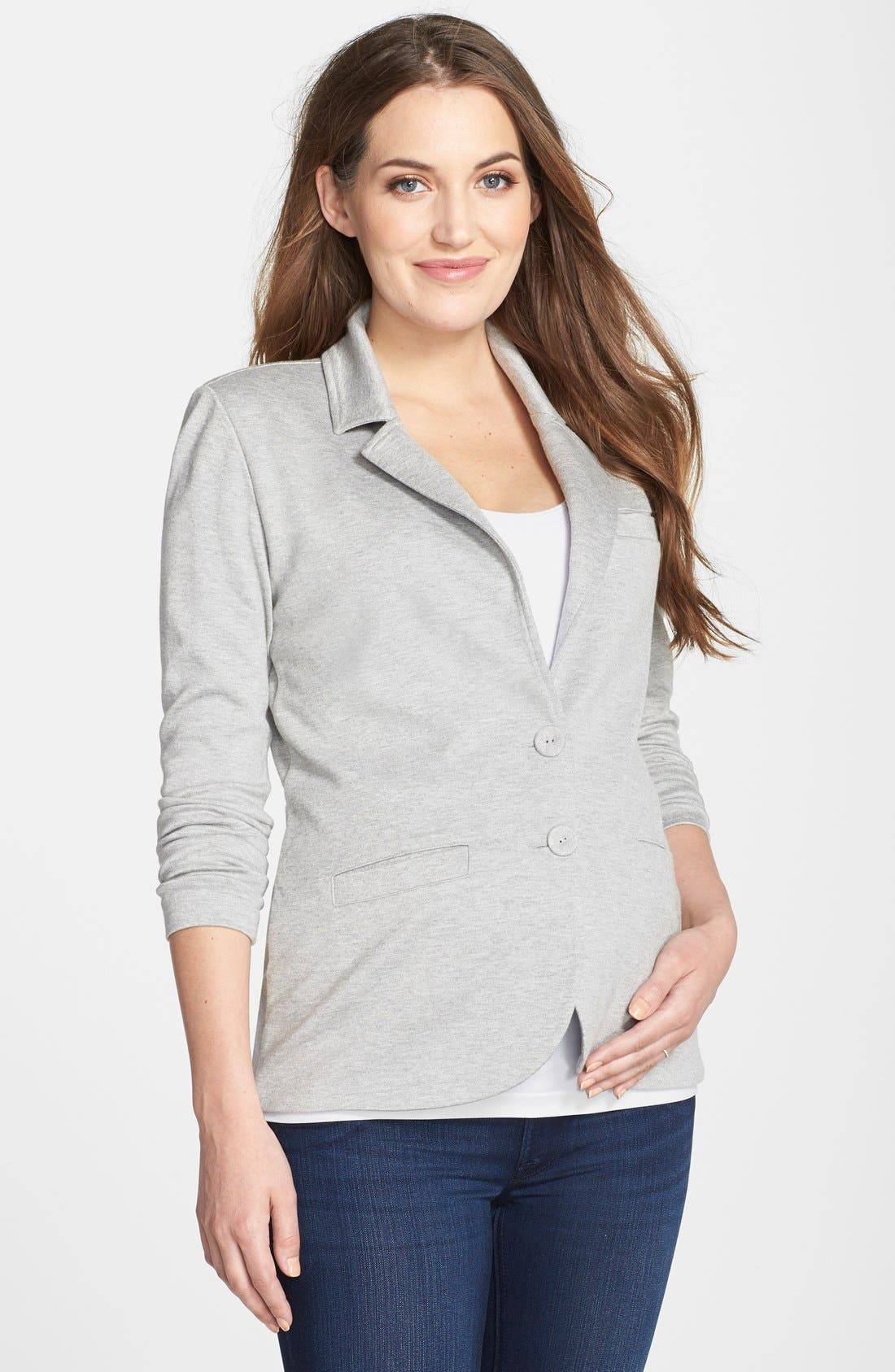 Essential Maternity Blazer,                             Main thumbnail 1, color,                             HEATHER GREY