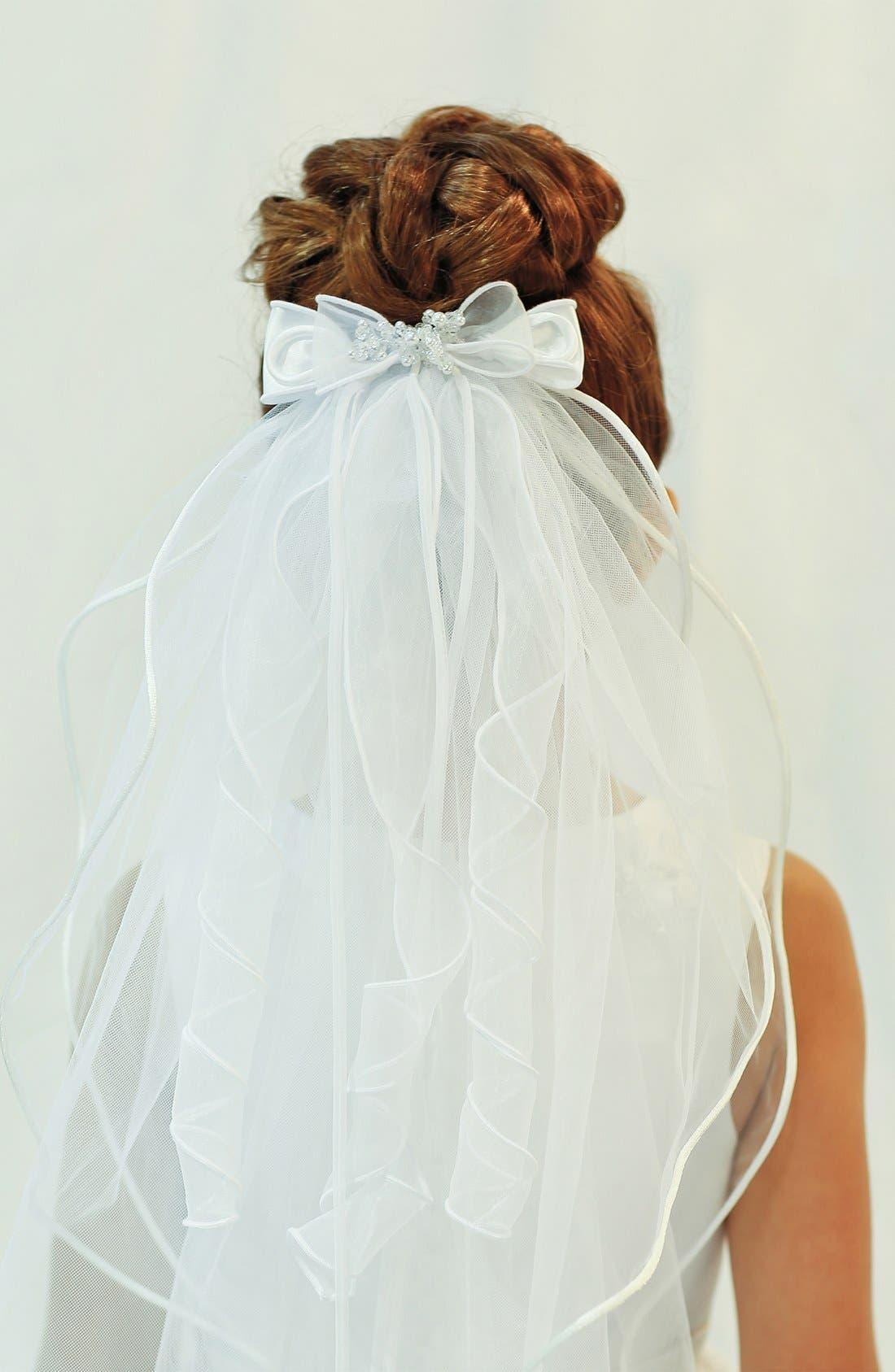 Organza Bow Veil,                             Alternate thumbnail 5, color,                             WHITE