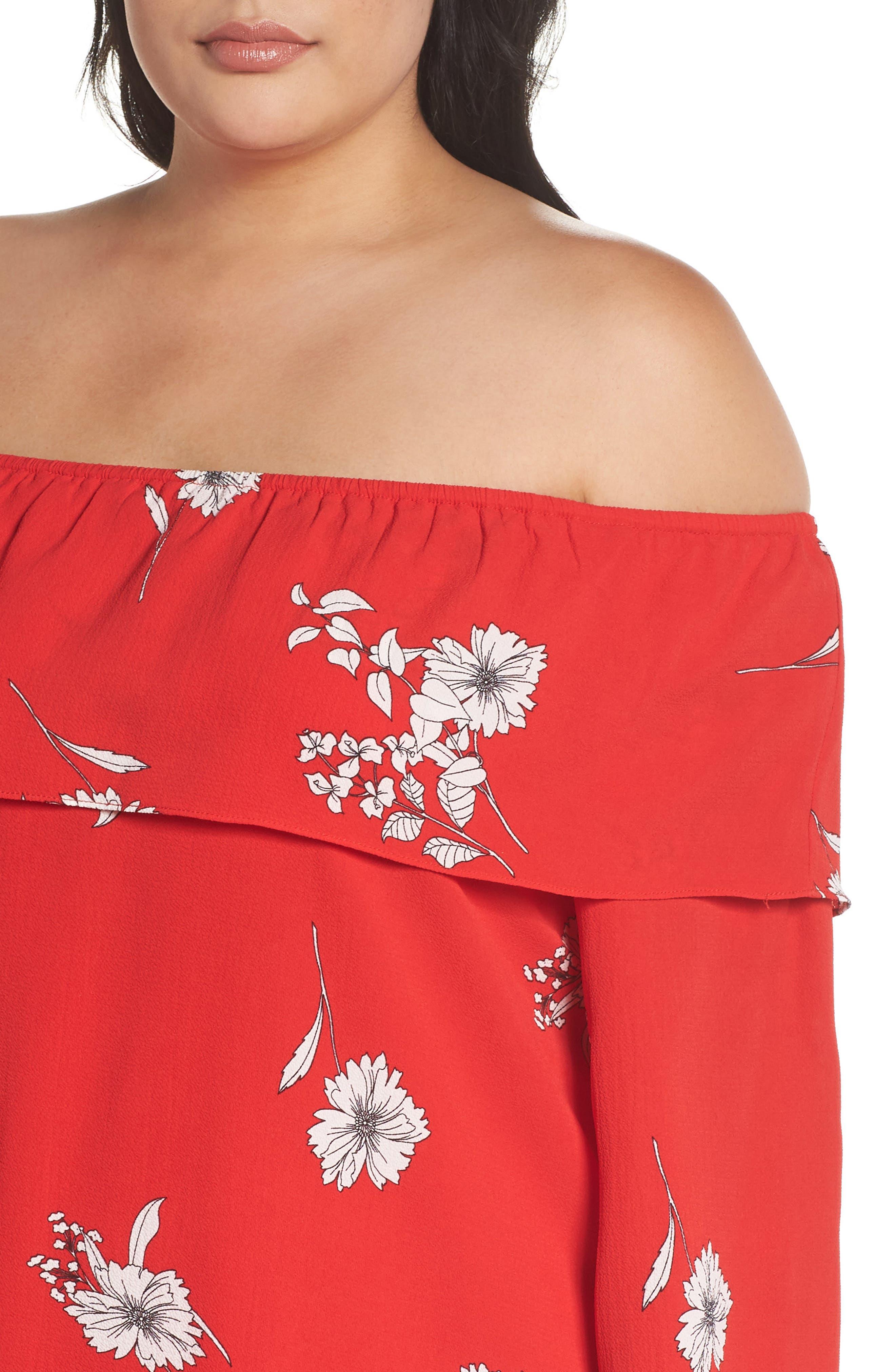Floral Off the Shoulder Shift Dress,                             Alternate thumbnail 4, color,                             600
