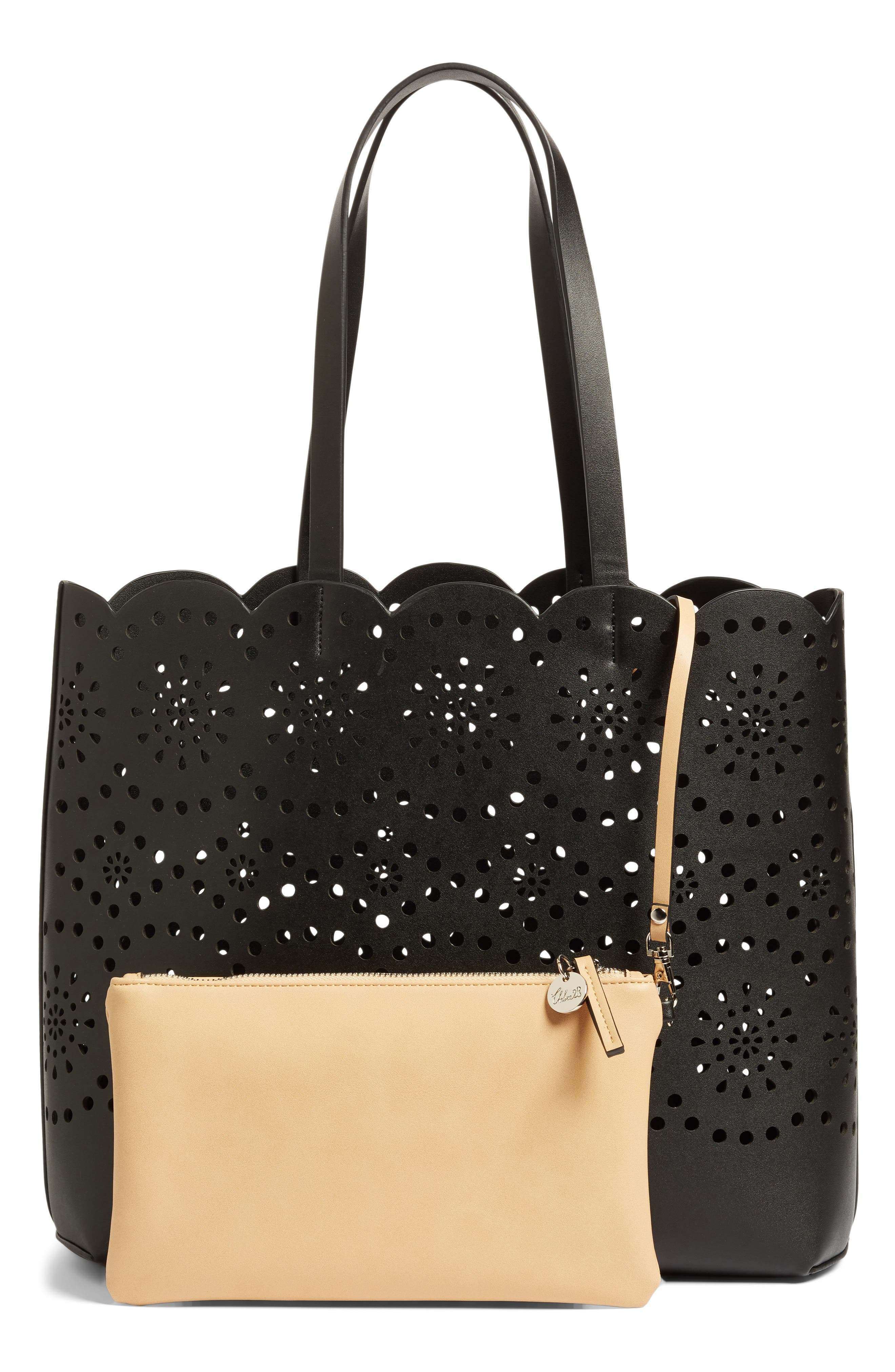 Lily Scallop Faux Leather Tote,                             Alternate thumbnail 3, color,                             001