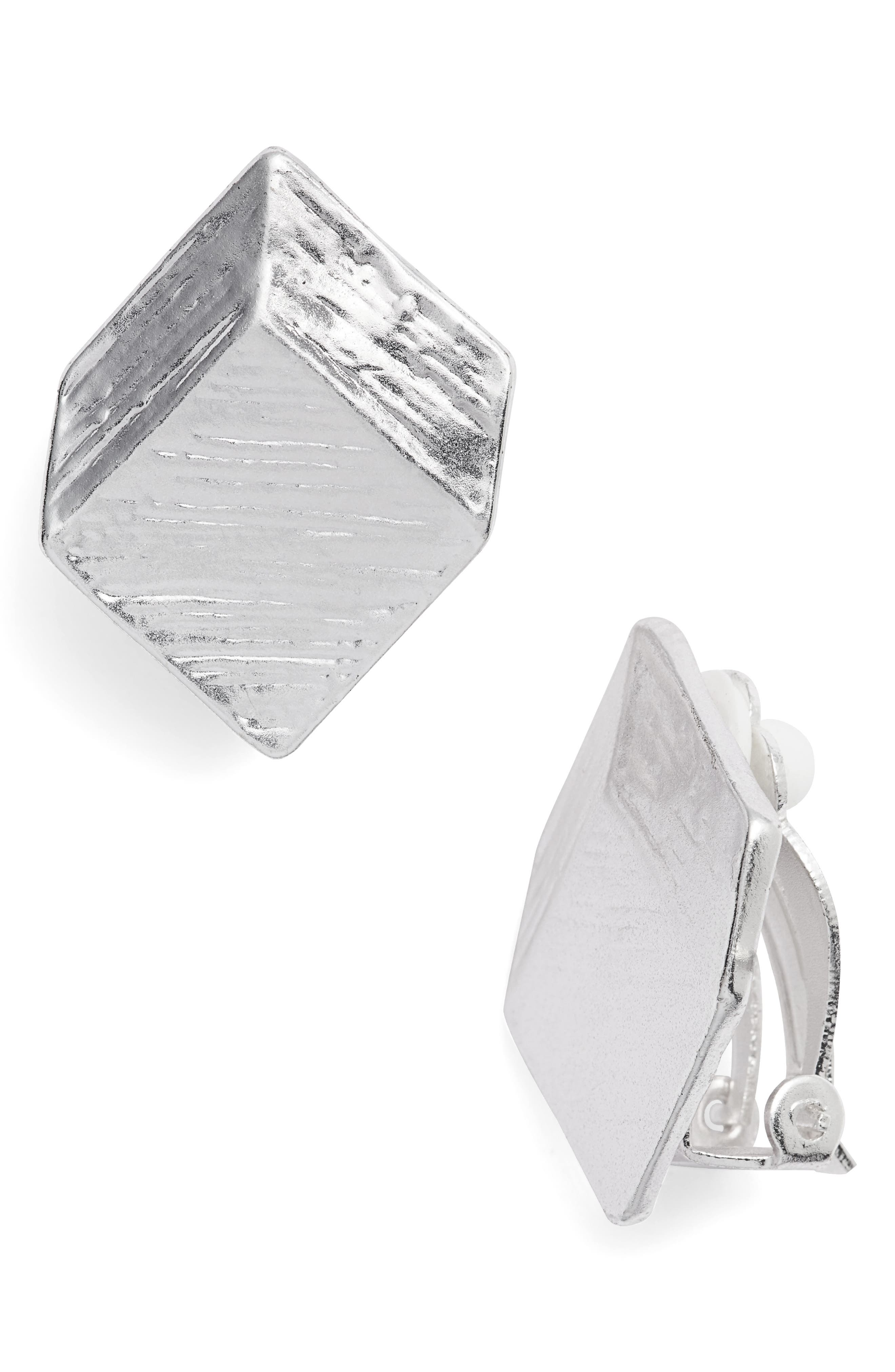 Brushed Square Clip-On Earrings,                         Main,                         color, SILVER