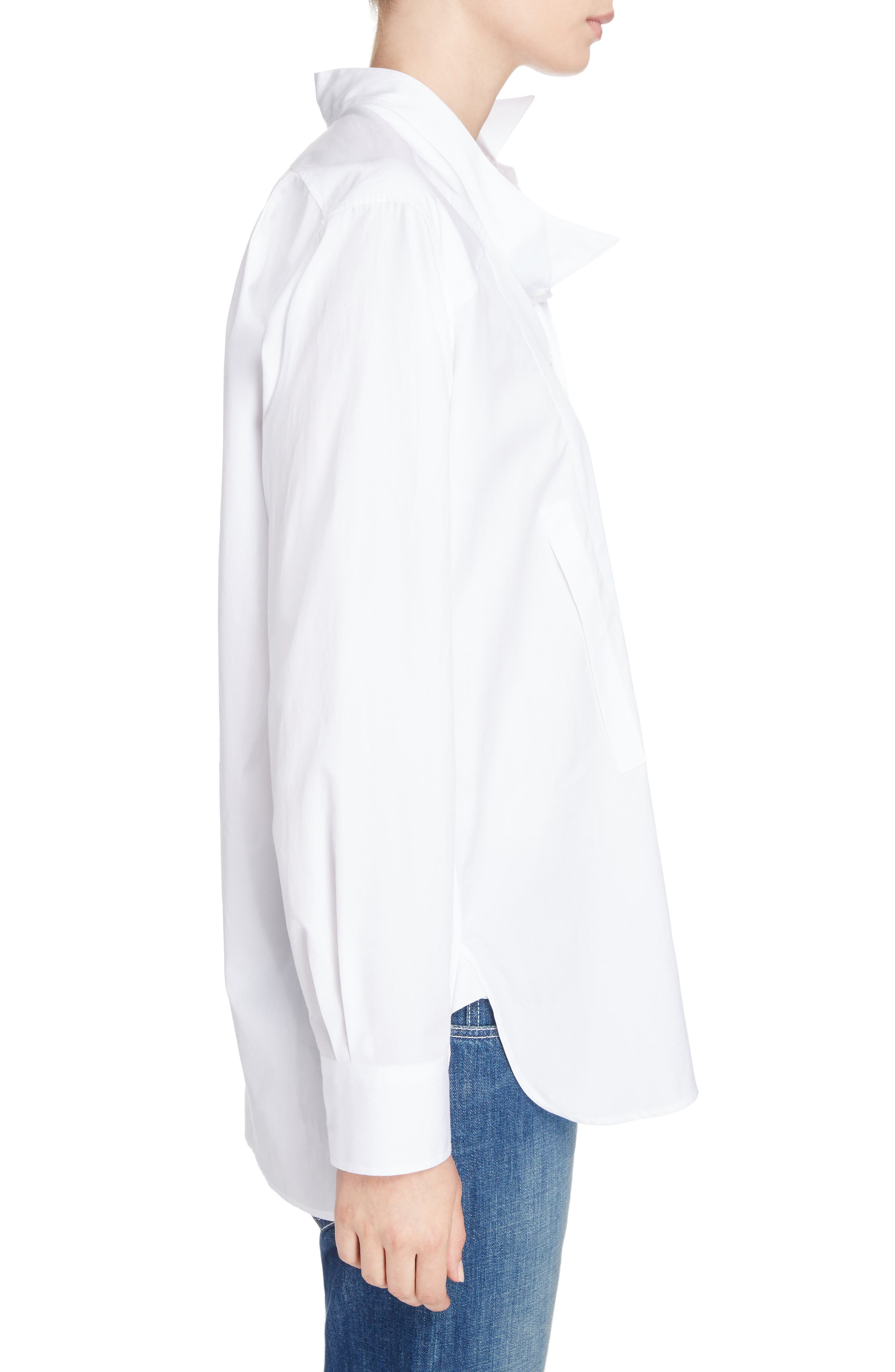 Cotton Poplin Patchwork Shirt,                             Alternate thumbnail 3, color,                             WHITE