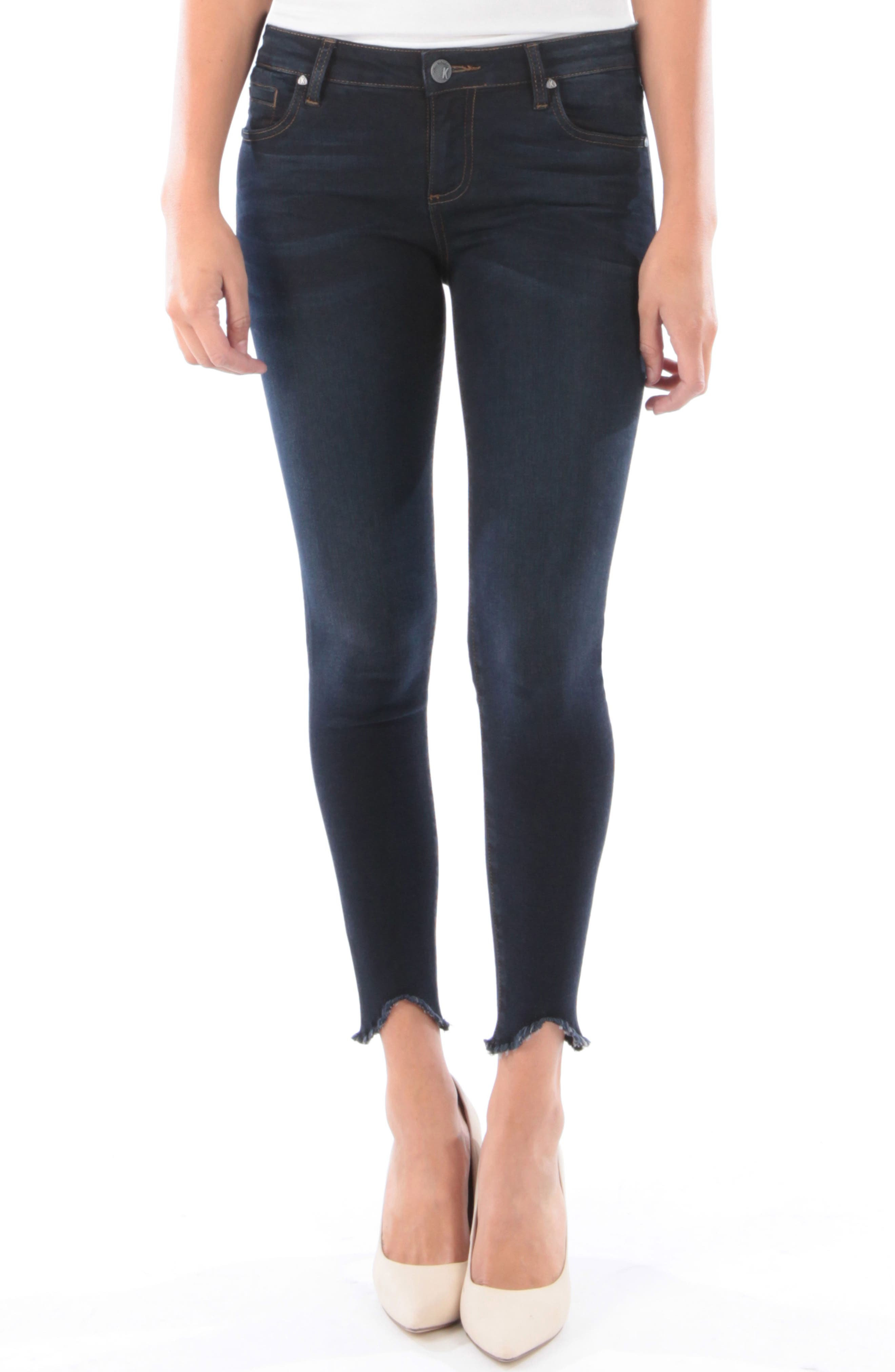 Connie Frayed Step Hem Ankle Skinny Jeans, Main, color, 428