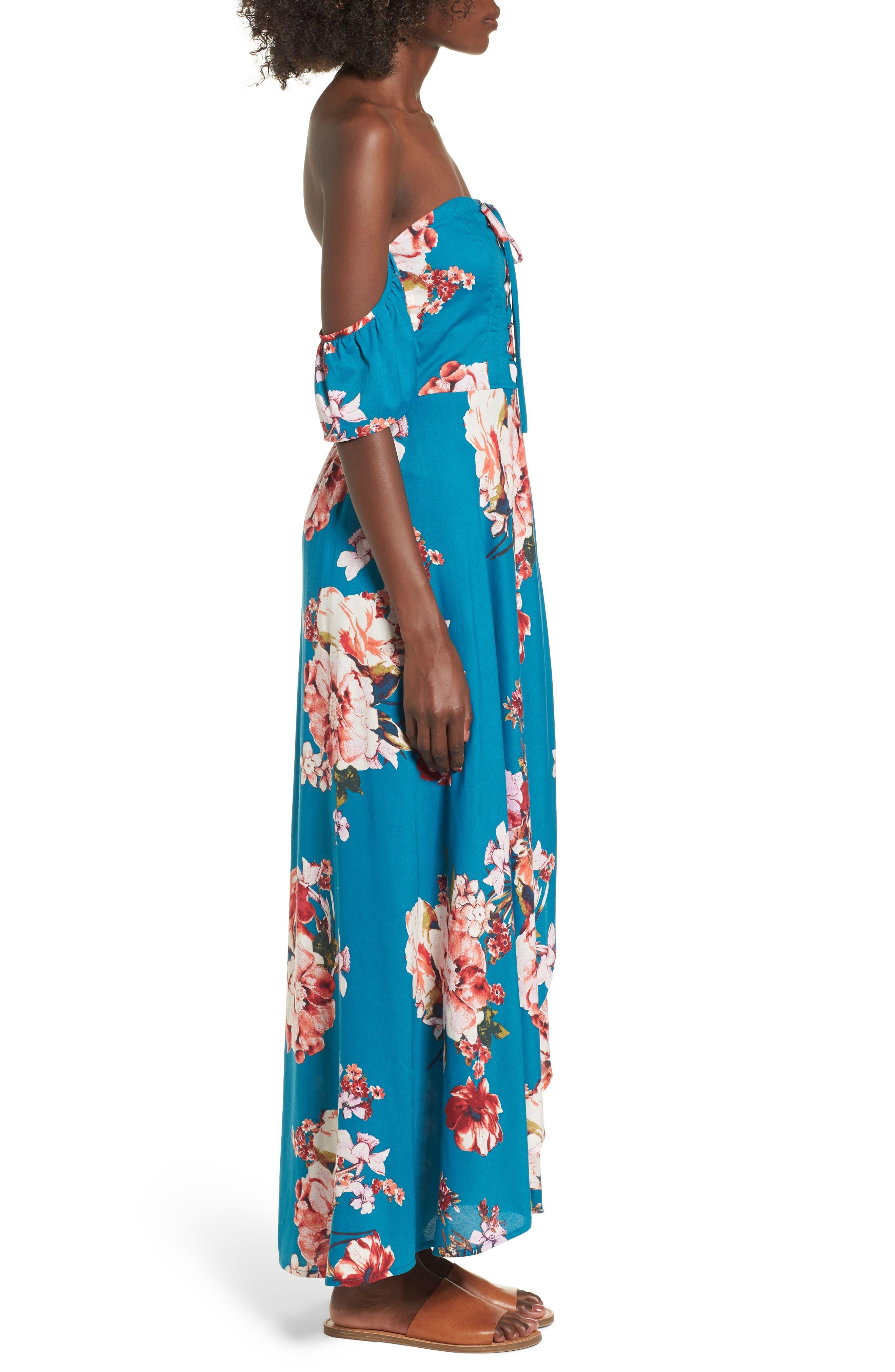 Lace Up Cold Shoulder Maxi Dress,                             Alternate thumbnail 3, color,                             402