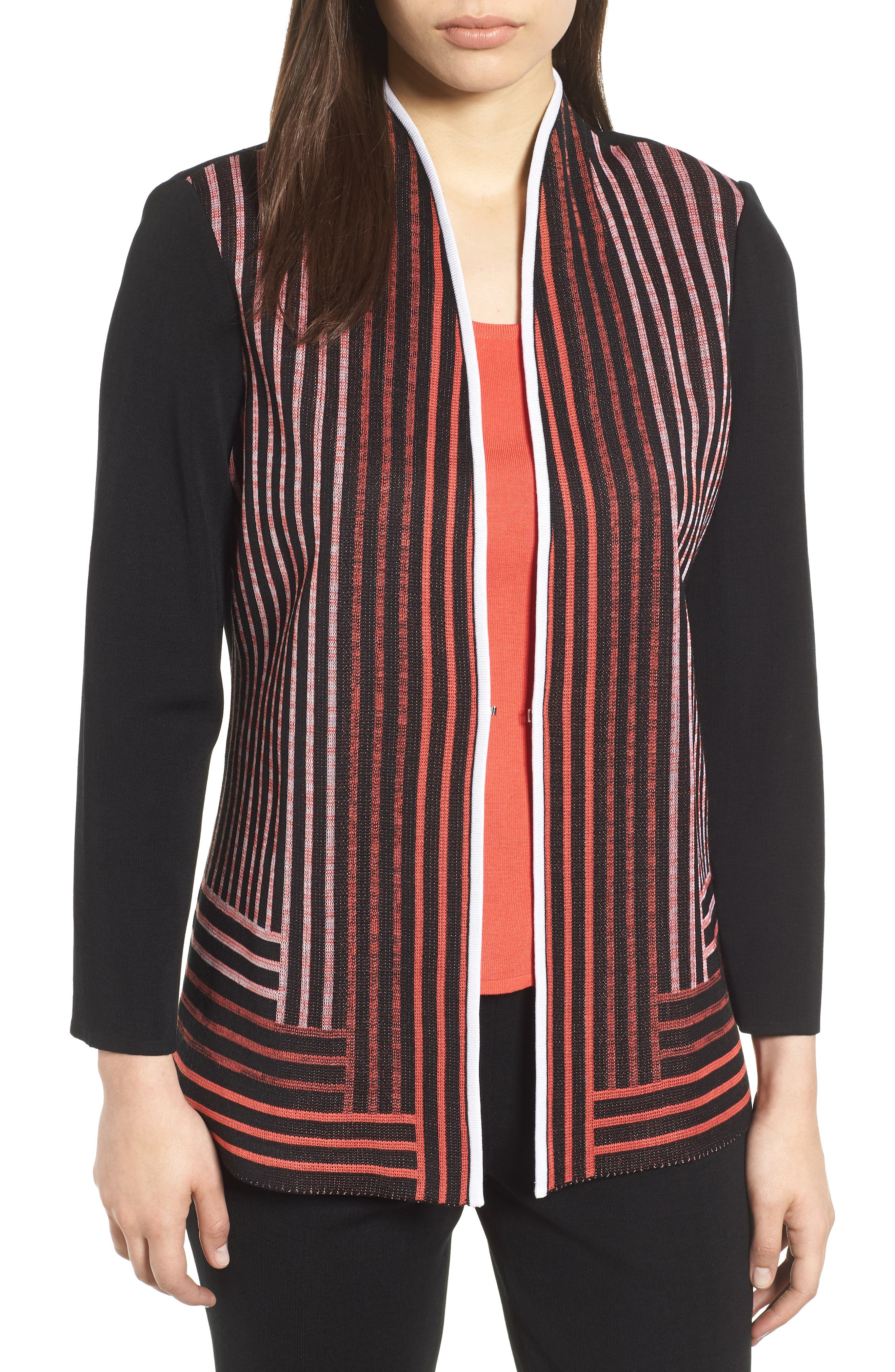 Stripe Knit Jacket,                             Main thumbnail 1, color,                             BLACK/ WHITE/ ZINNIA