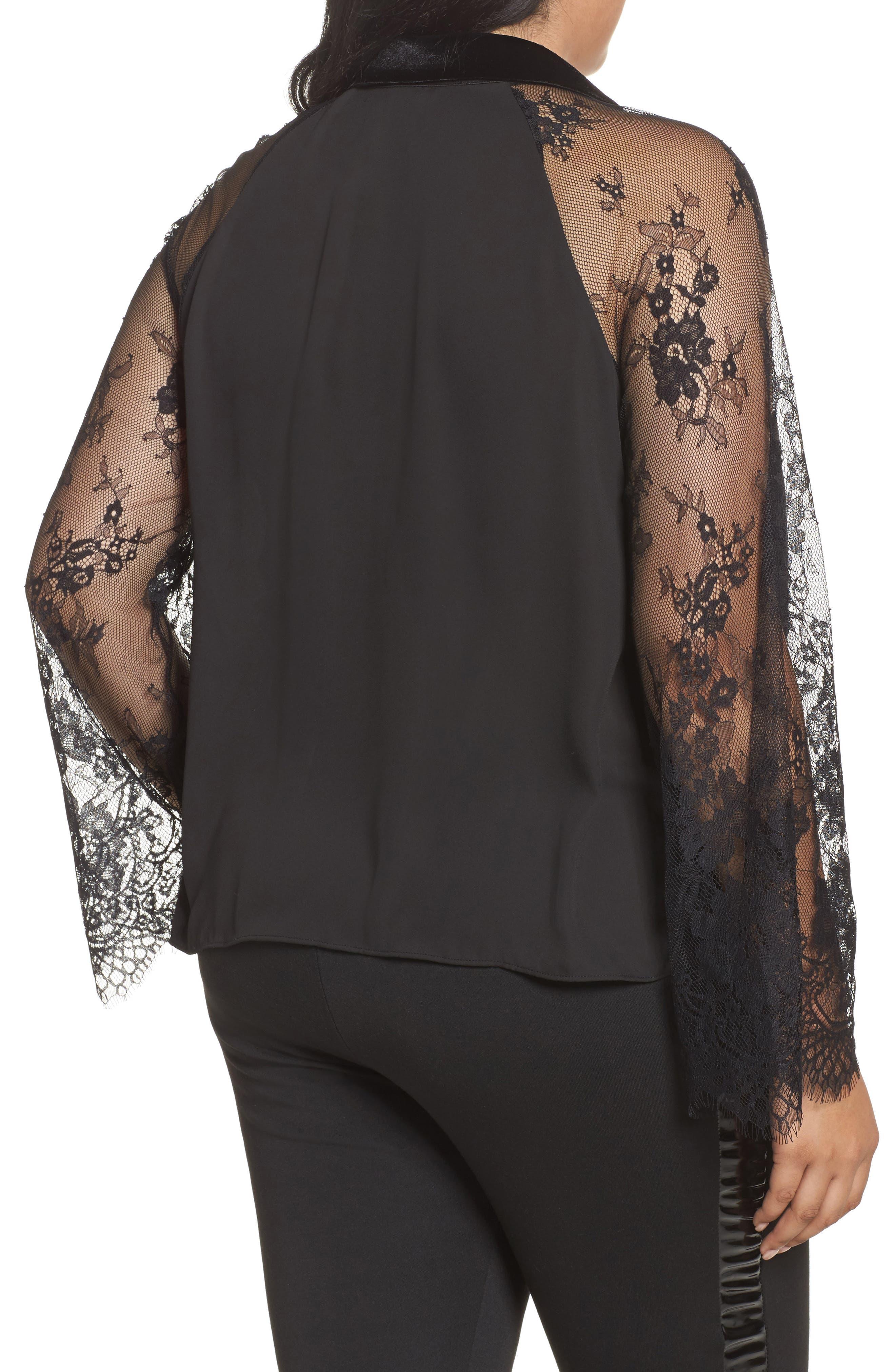 Lace Sleeve Shirt,                             Alternate thumbnail 2, color,