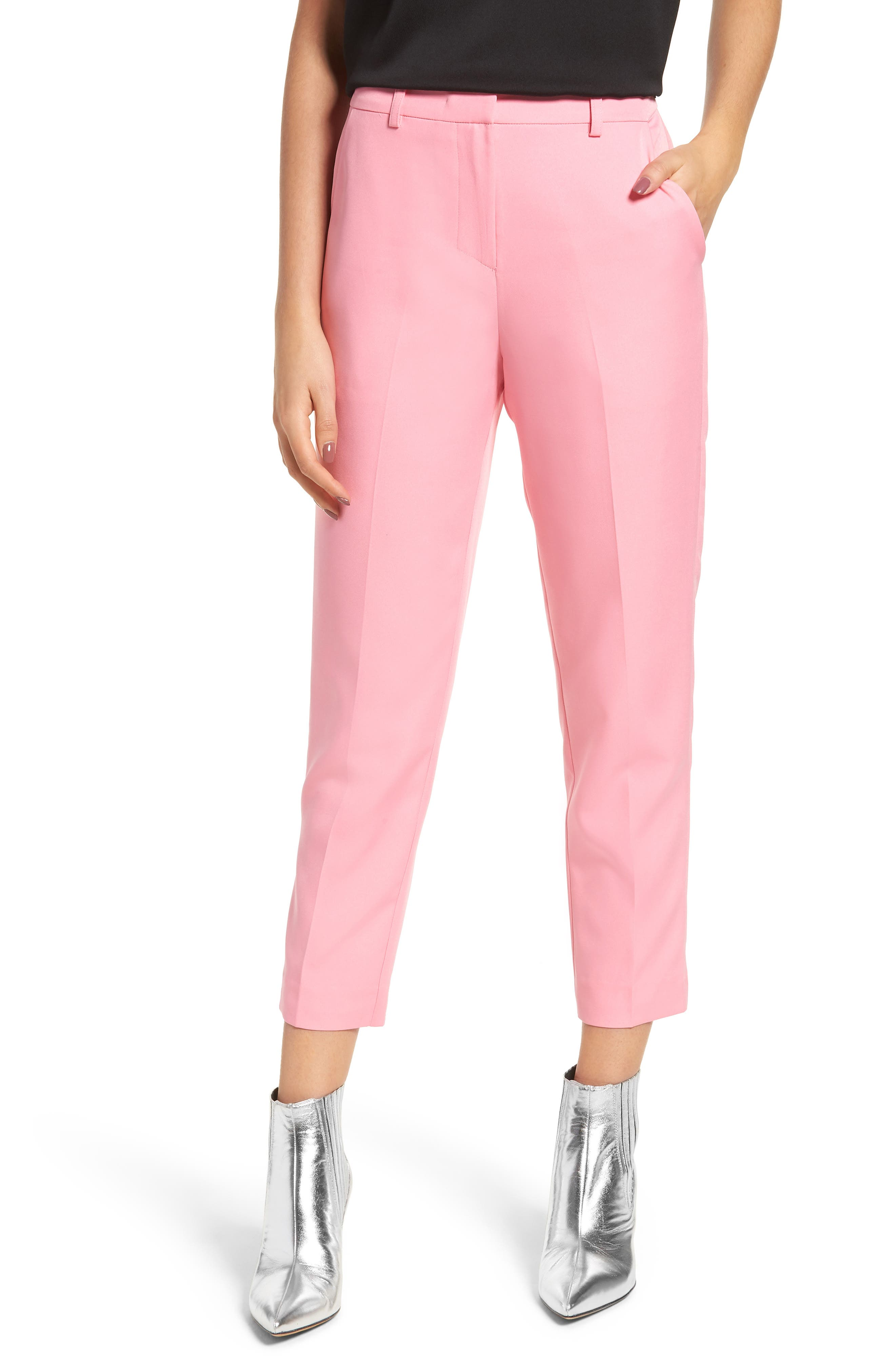 Mid-Rise Pleated Cropped Pants in Pink