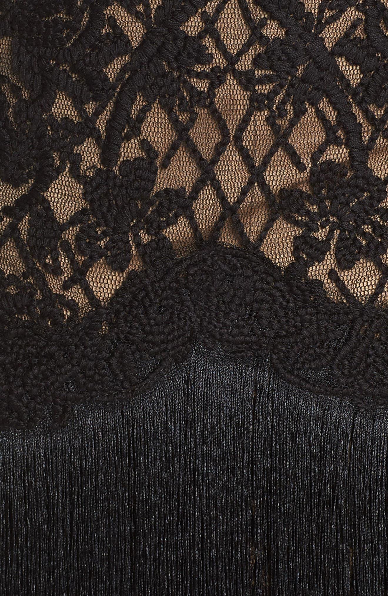 Off the Shoulder Fringe & Embroidered Mesh Dress,                             Alternate thumbnail 5, color,                             BLACK/ NUDE