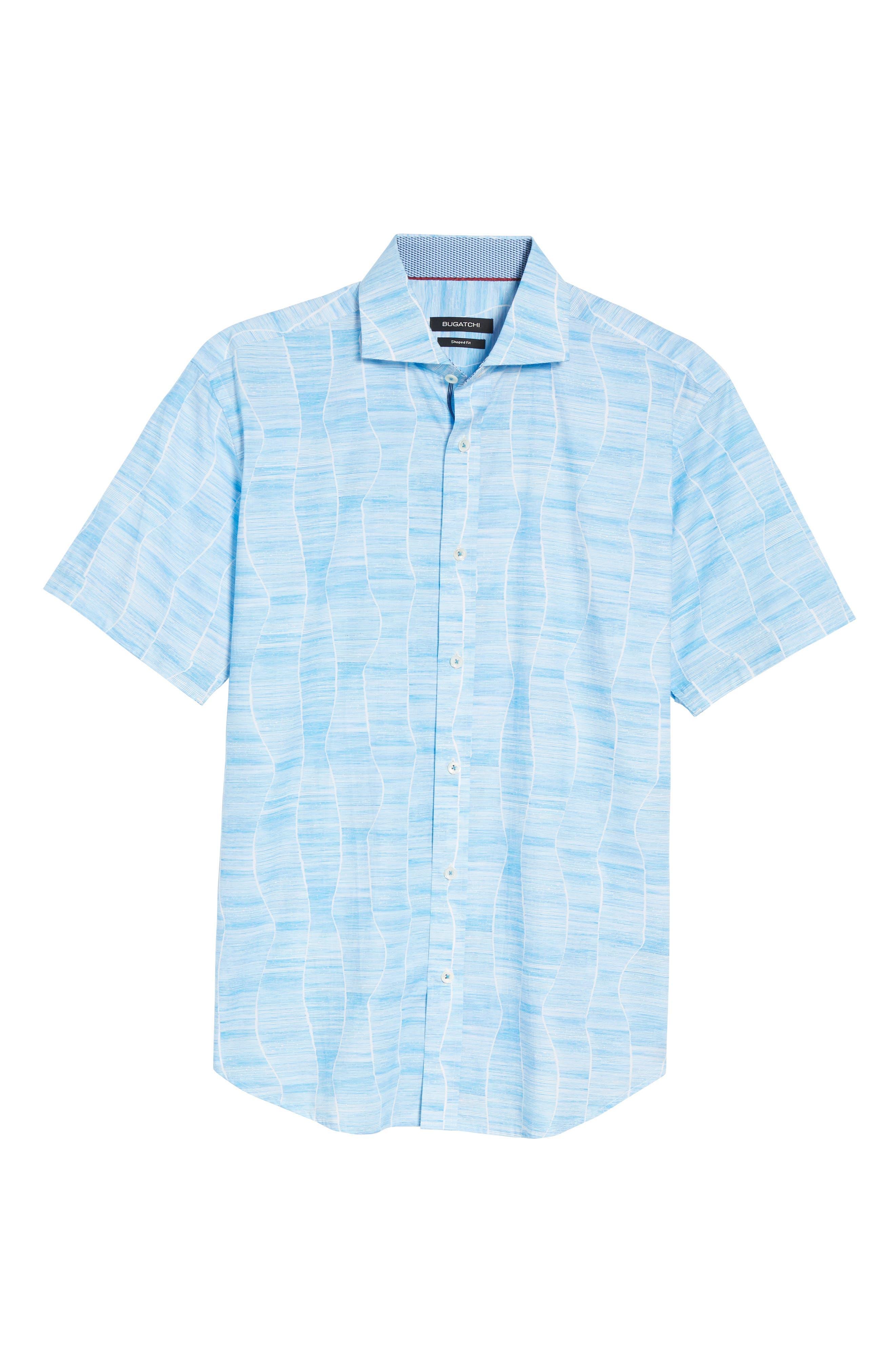 Shaped Fit Print Sport Shirt,                             Alternate thumbnail 6, color,                             420