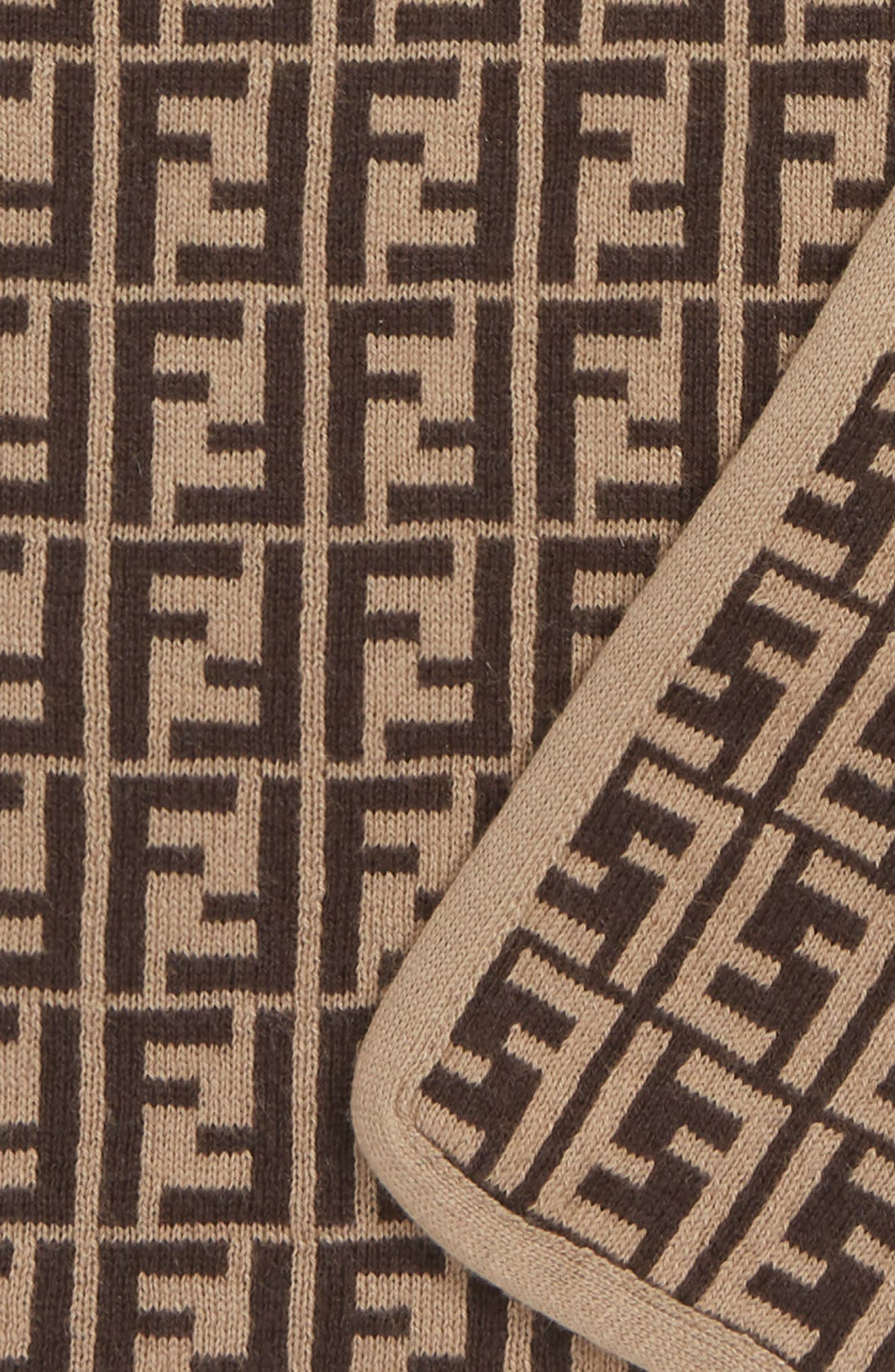 FENDI,                             Logo Cotton & Cashmere Baby Blanket,                             Alternate thumbnail 2, color,                             BUJ101 A3TE