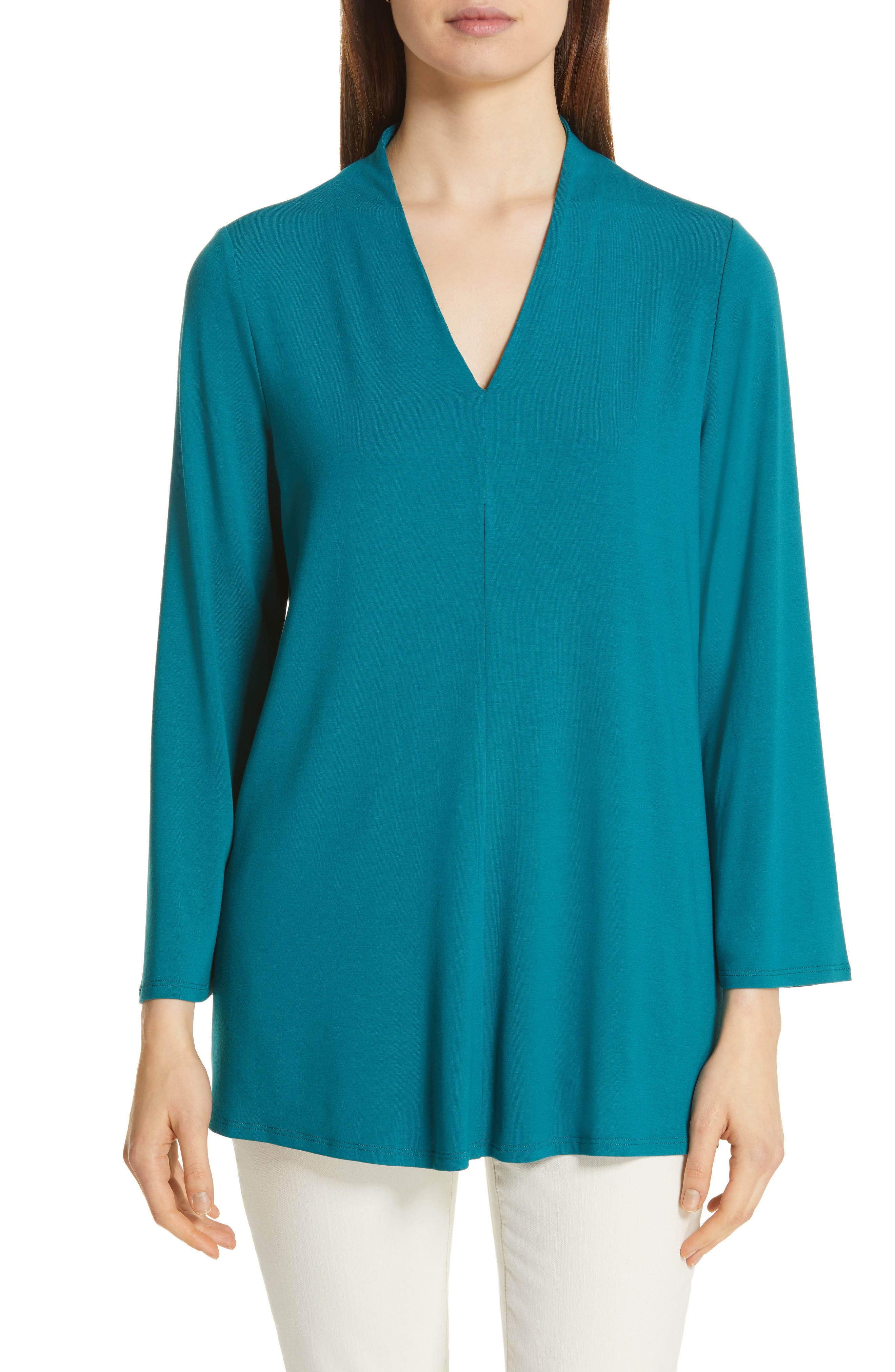 Eileen Fisher V-Neck Top, Blue/green