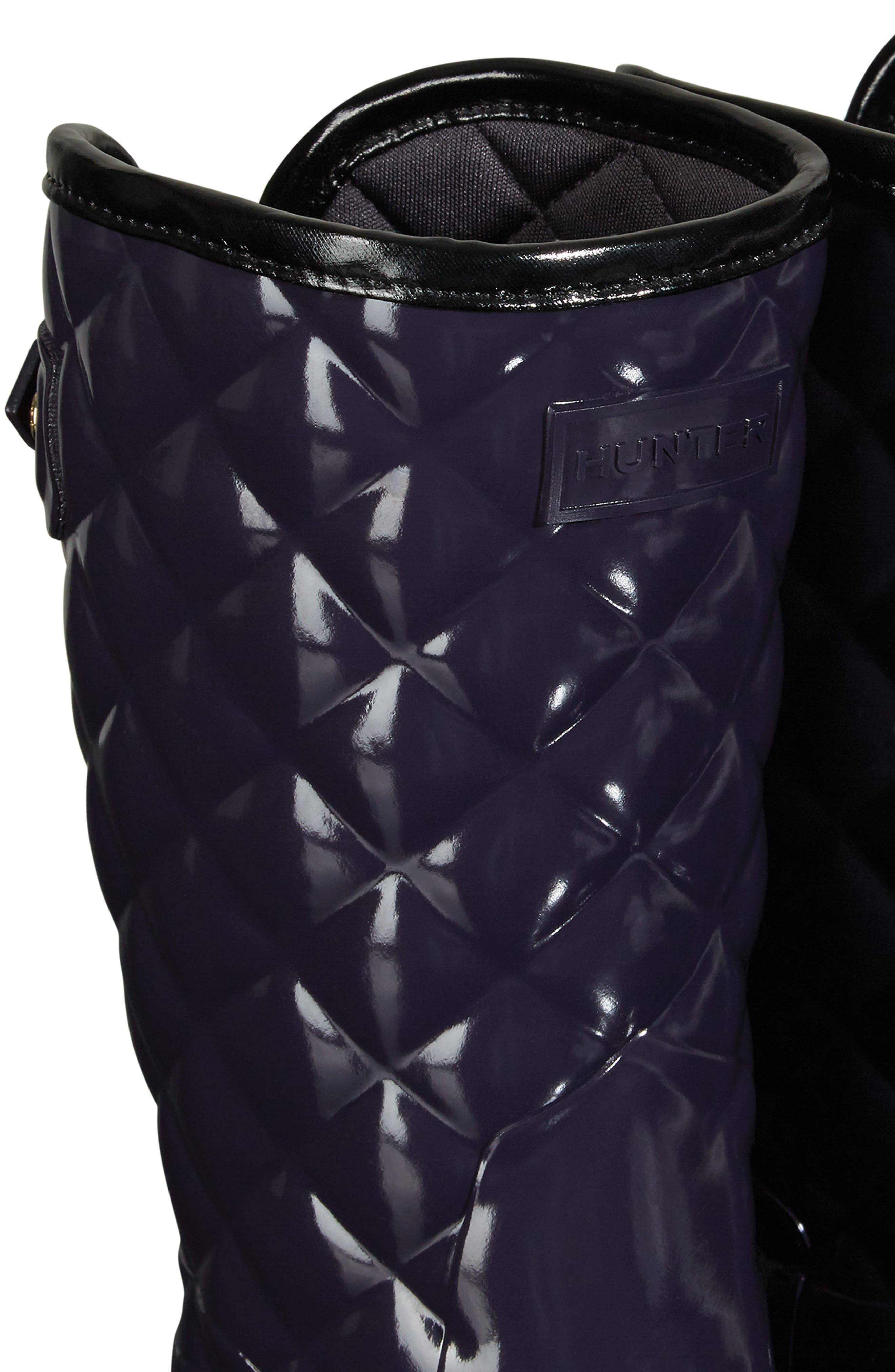 Refined High Gloss Quilted Short Waterproof Rain Boot,                             Alternate thumbnail 7, color,                             AUBERGINE
