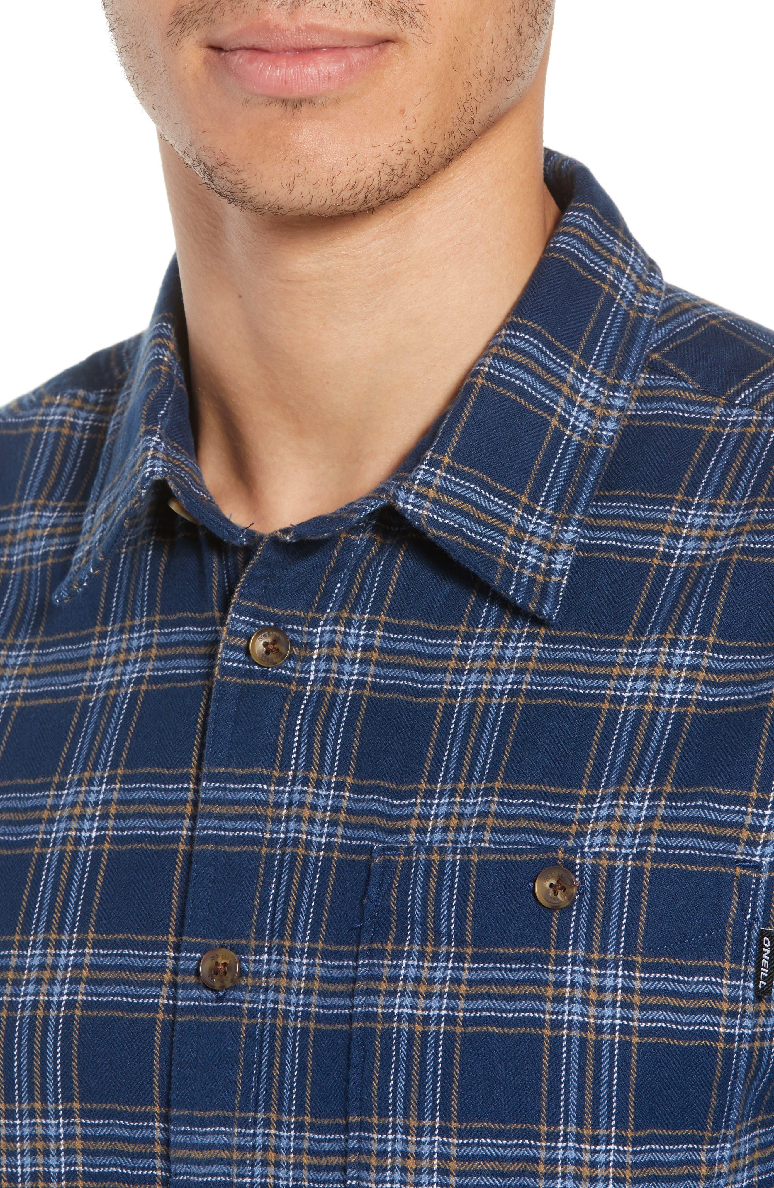 Redmond Flannel Shirt,                             Alternate thumbnail 4, color,                             NAVY