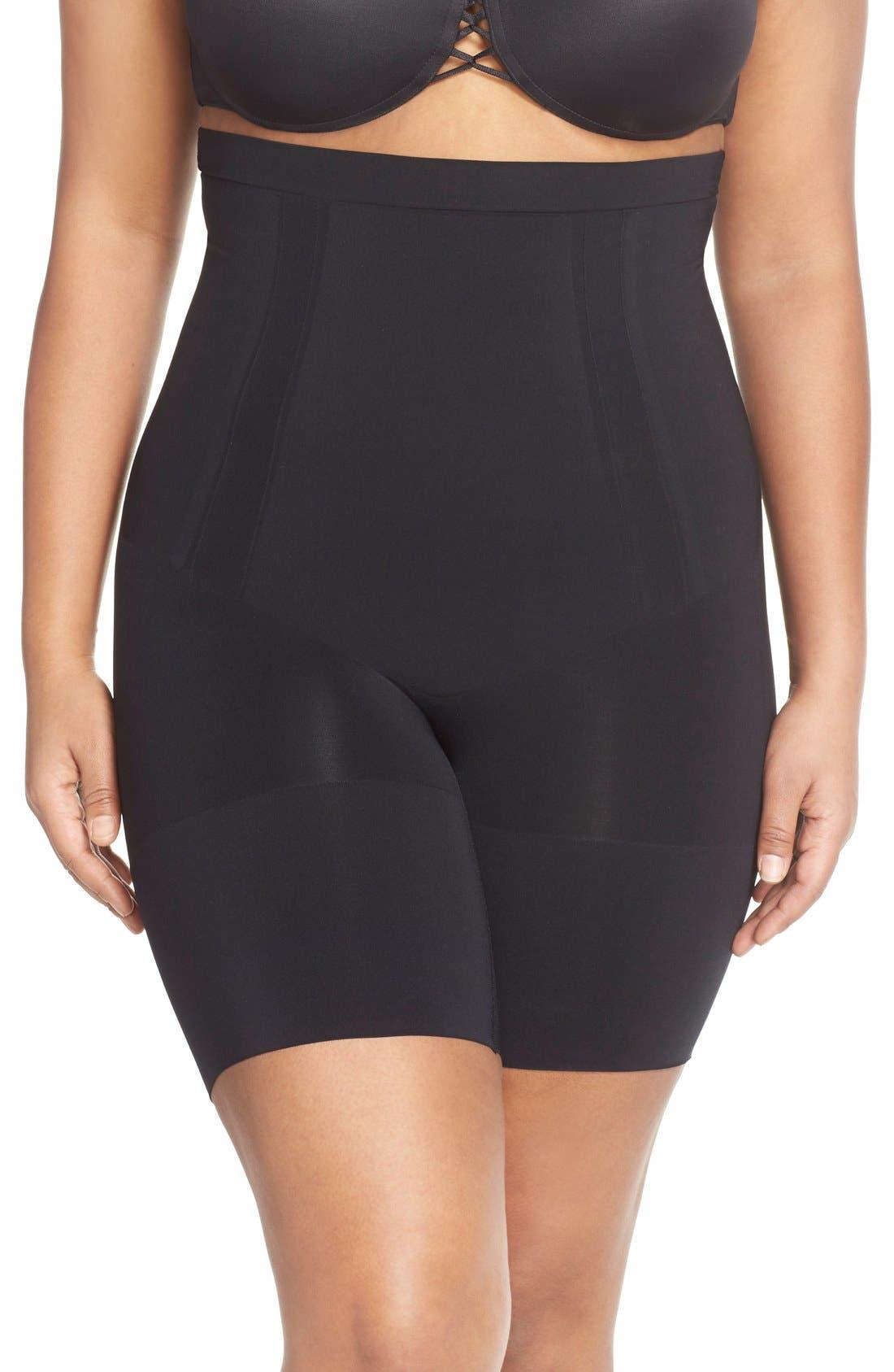 OnCore High Waist Mid-Thigh Shorts,                             Main thumbnail 1, color,                             VERY BLACK