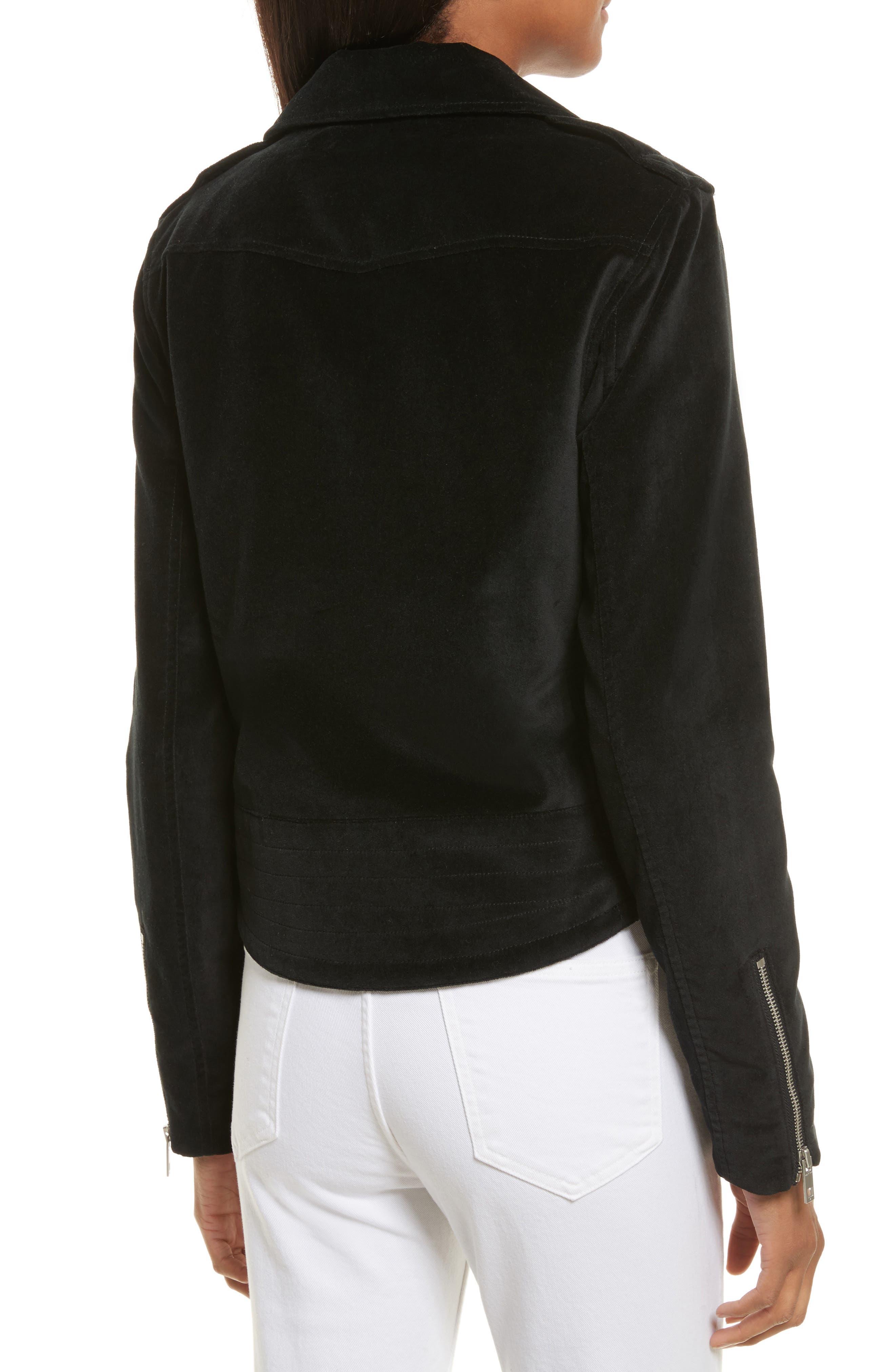 Mercer Velvet Moto Jacket,                             Alternate thumbnail 2, color,                             001