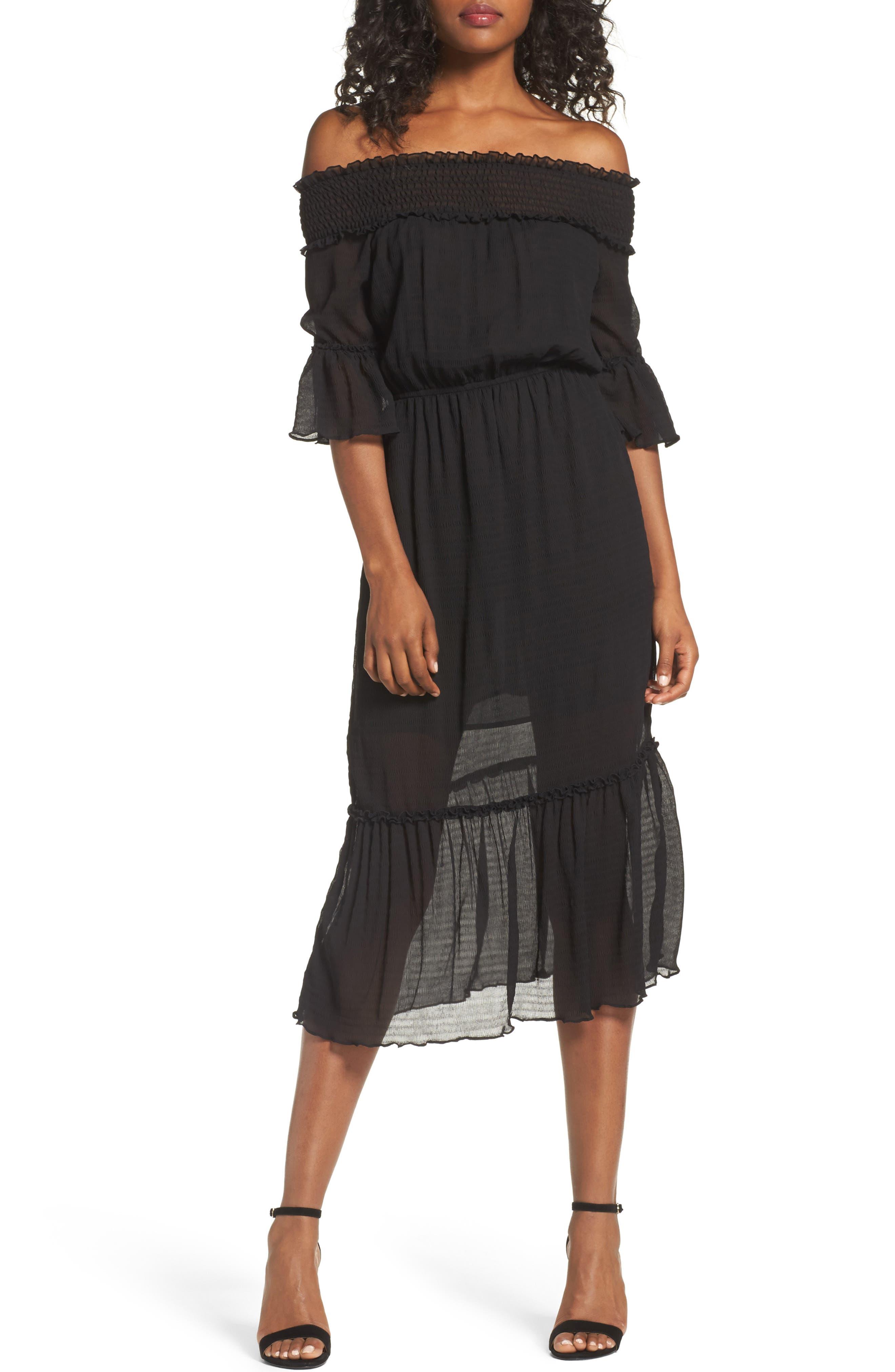 CHELSEA28 Off the Shoulder Midi Dress, Main, color, 001