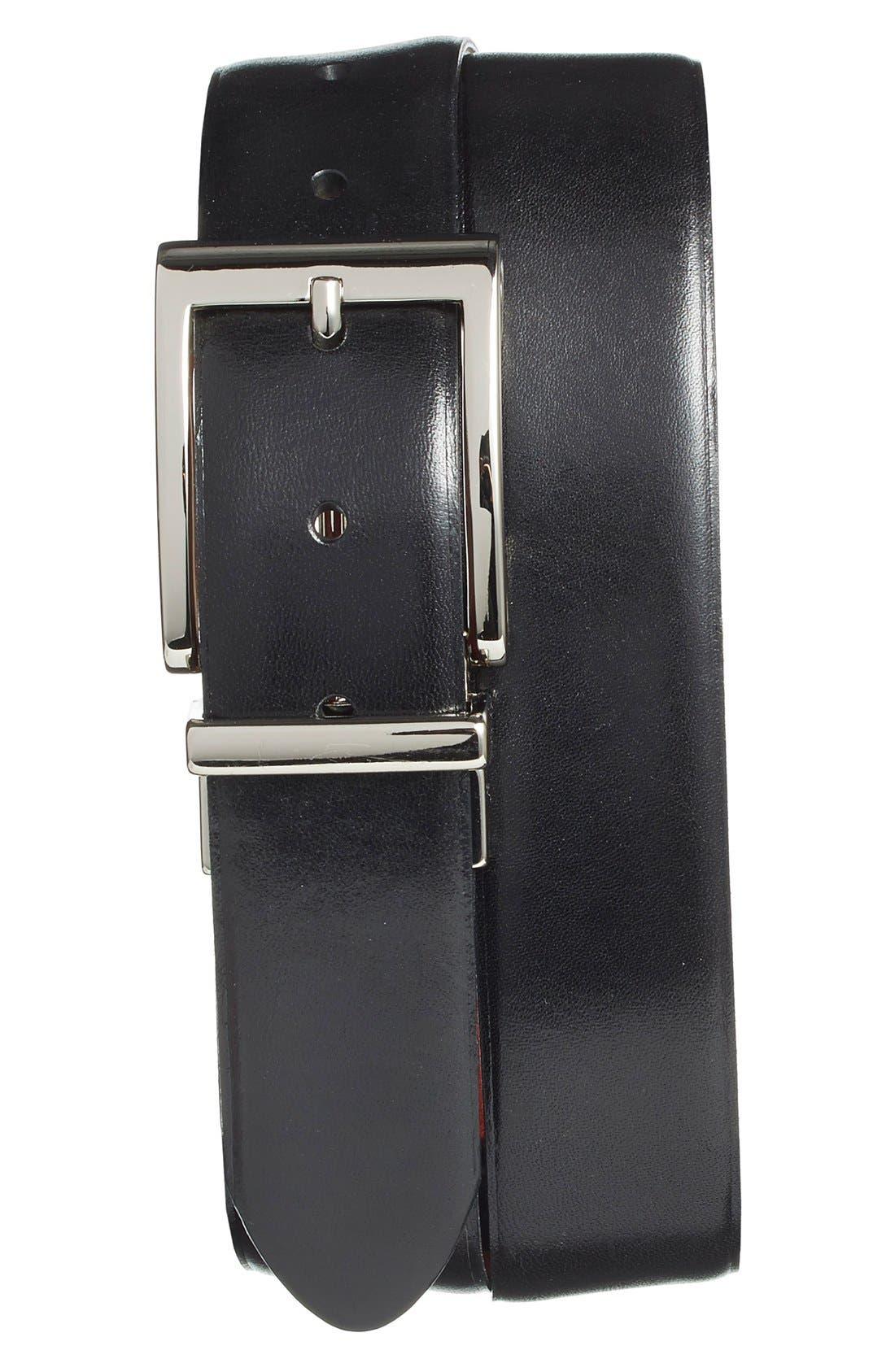 Reversible Leather Belt,                         Main,                         color, 001