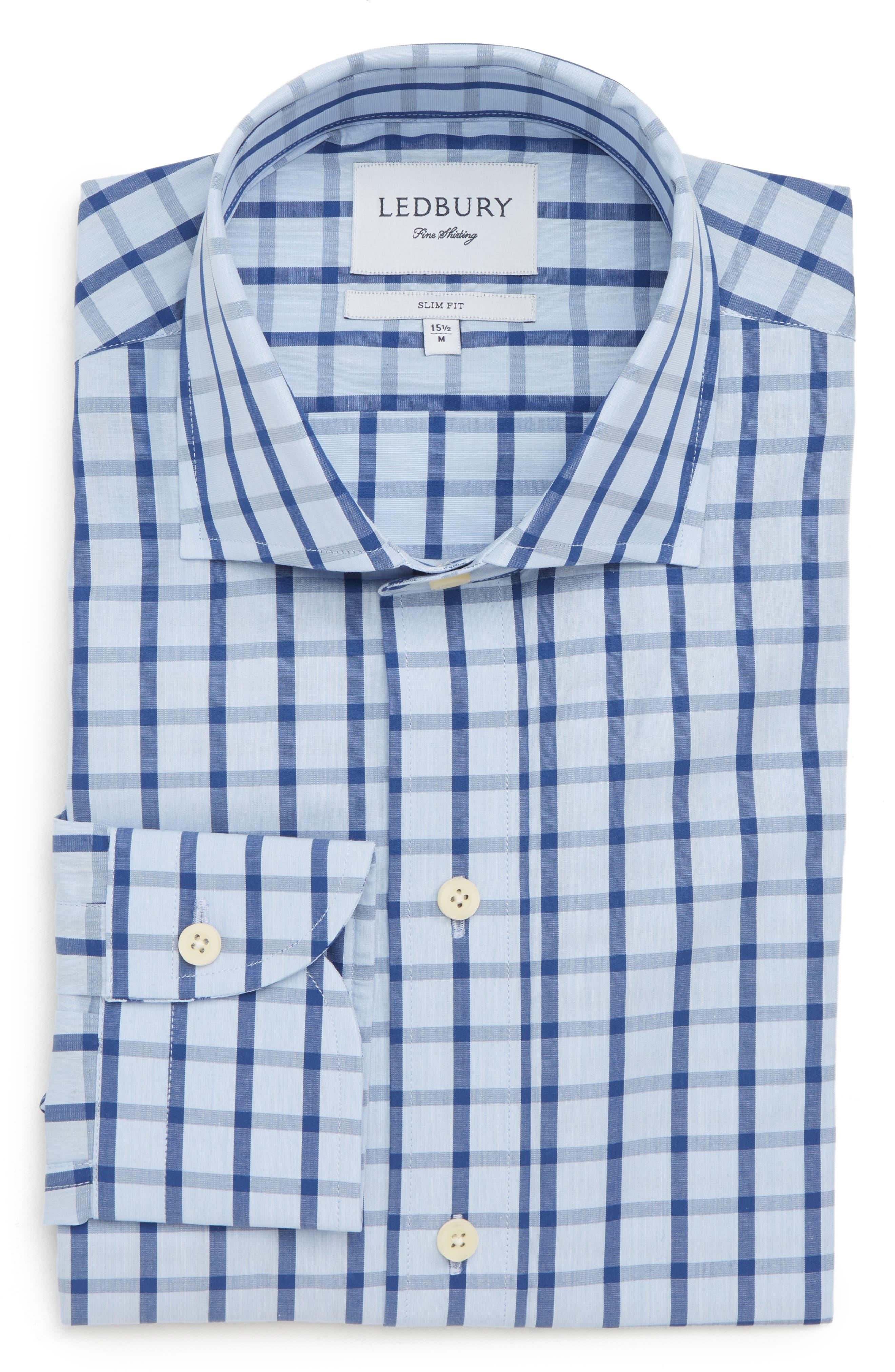 Hayden Trim Fit Windowpane Dress Shirt,                             Alternate thumbnail 11, color,