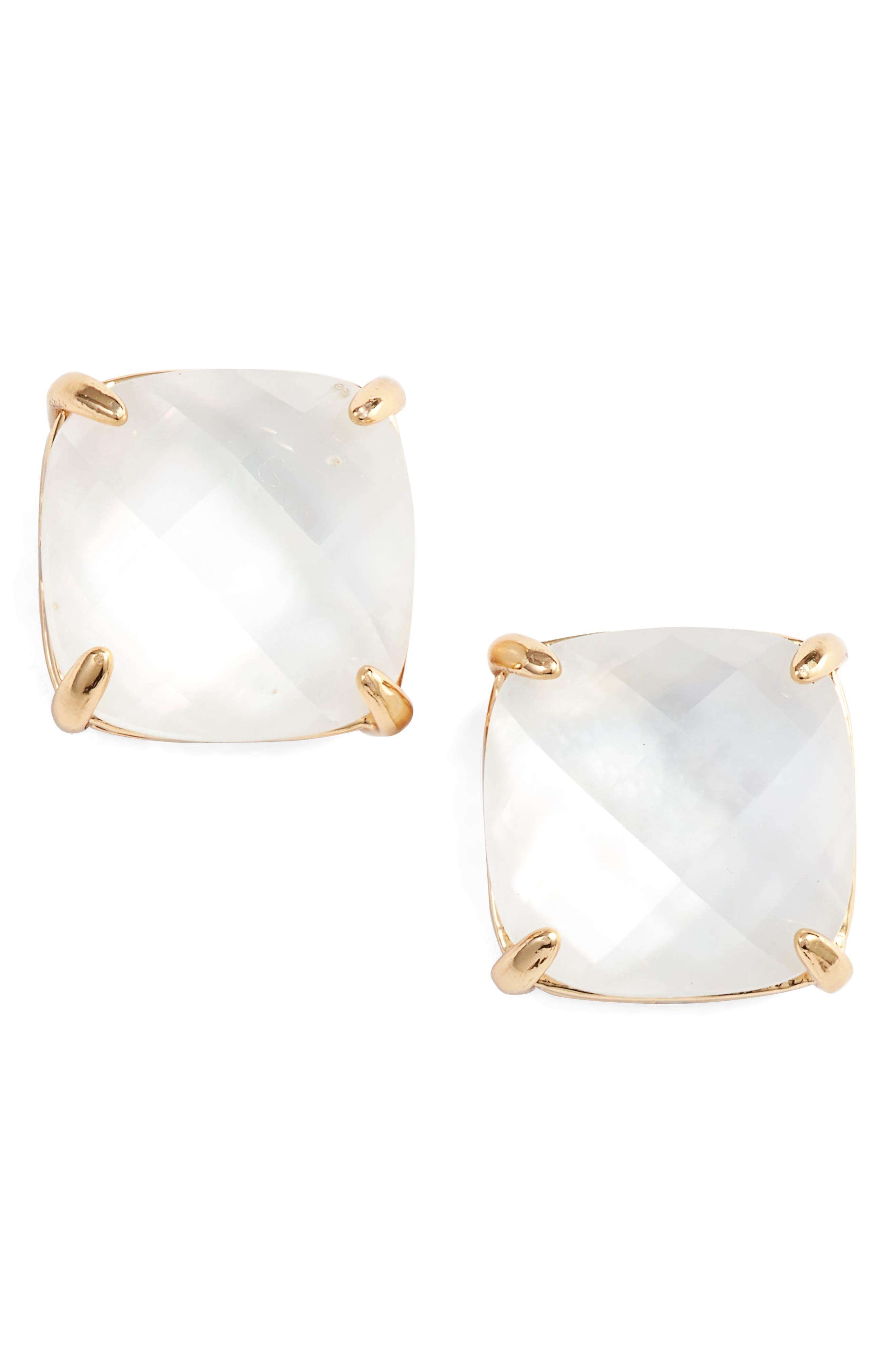 small square stud earrings,                             Main thumbnail 1, color,                             CREAM
