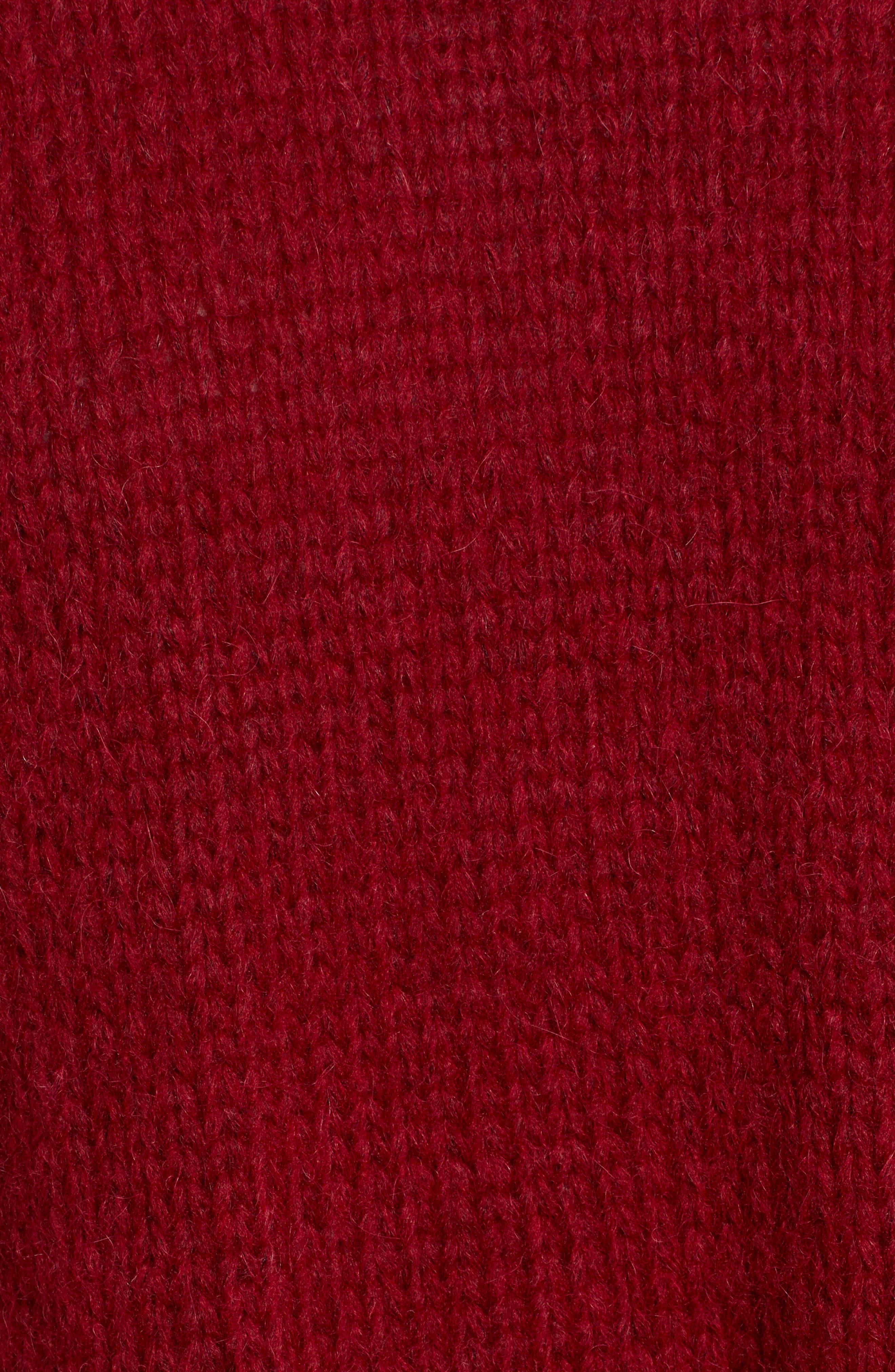 Wool Alpaca Blend Crewneck Sweater,                             Alternate thumbnail 5, color,                             WINE