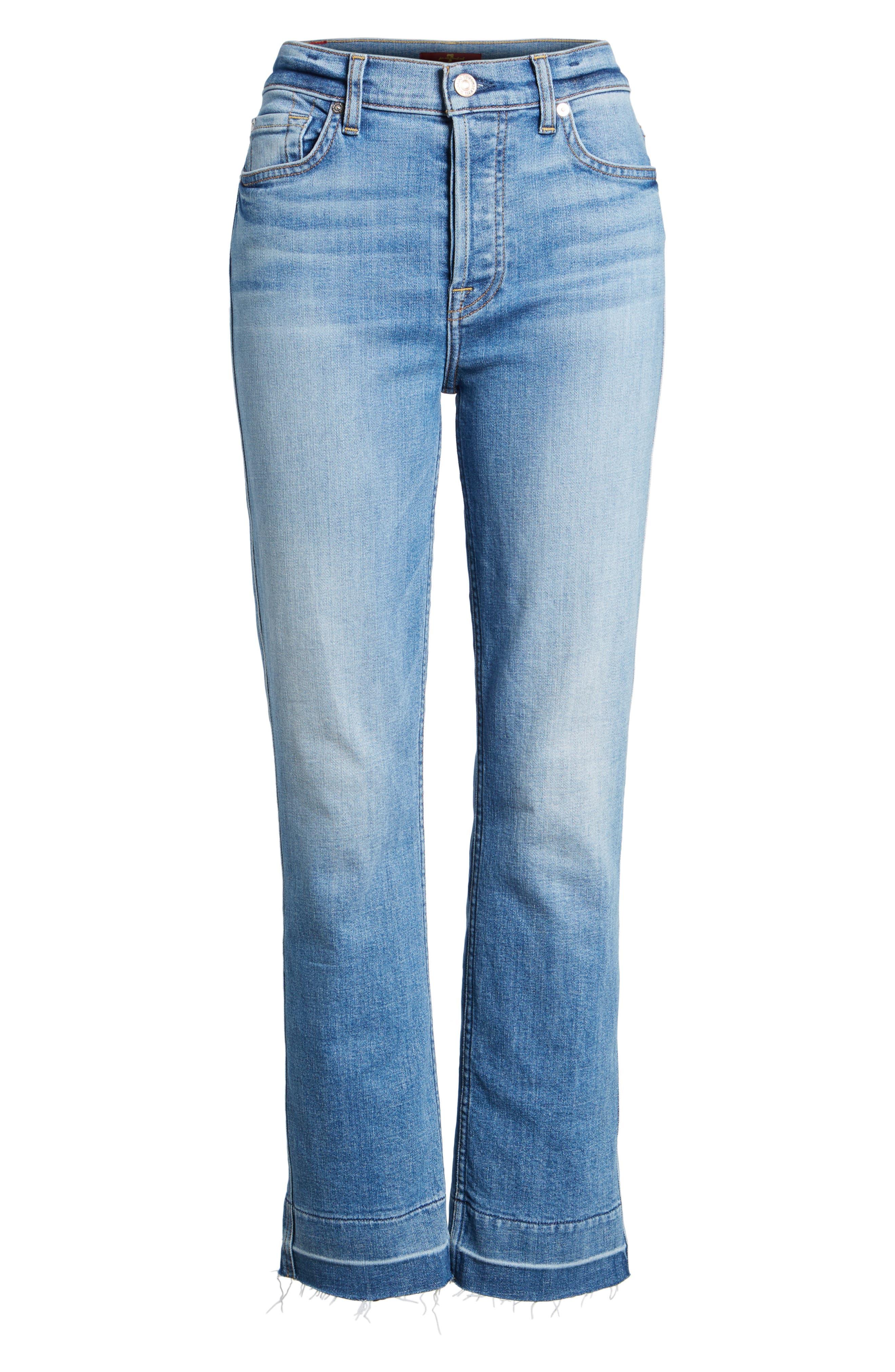 Edie High Waist Crop Release Hem Jeans,                             Alternate thumbnail 6, color,                             400