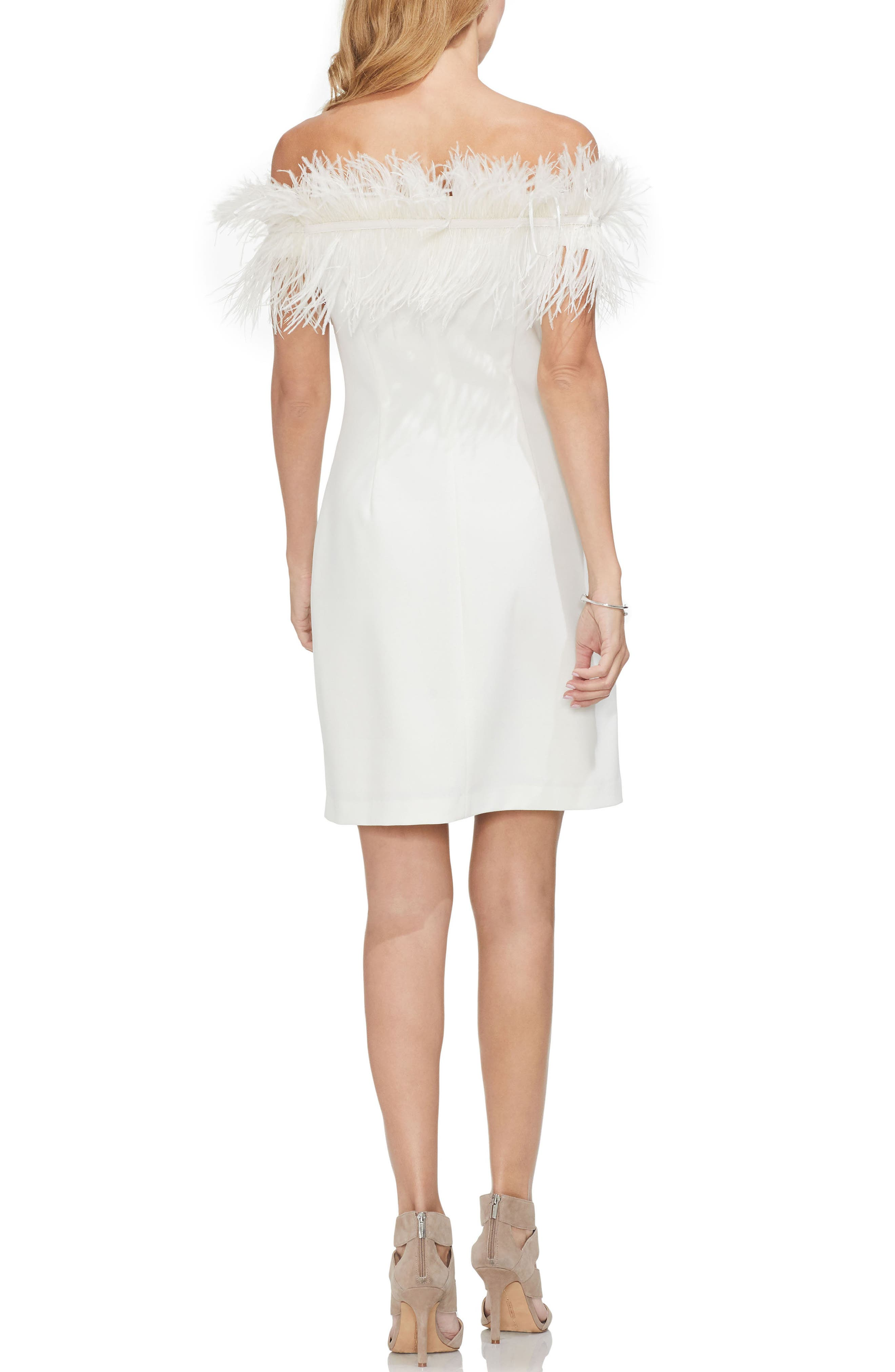 Feather Trim Off the Shoulder Dress,                             Alternate thumbnail 2, color,                             PEARL IVORY