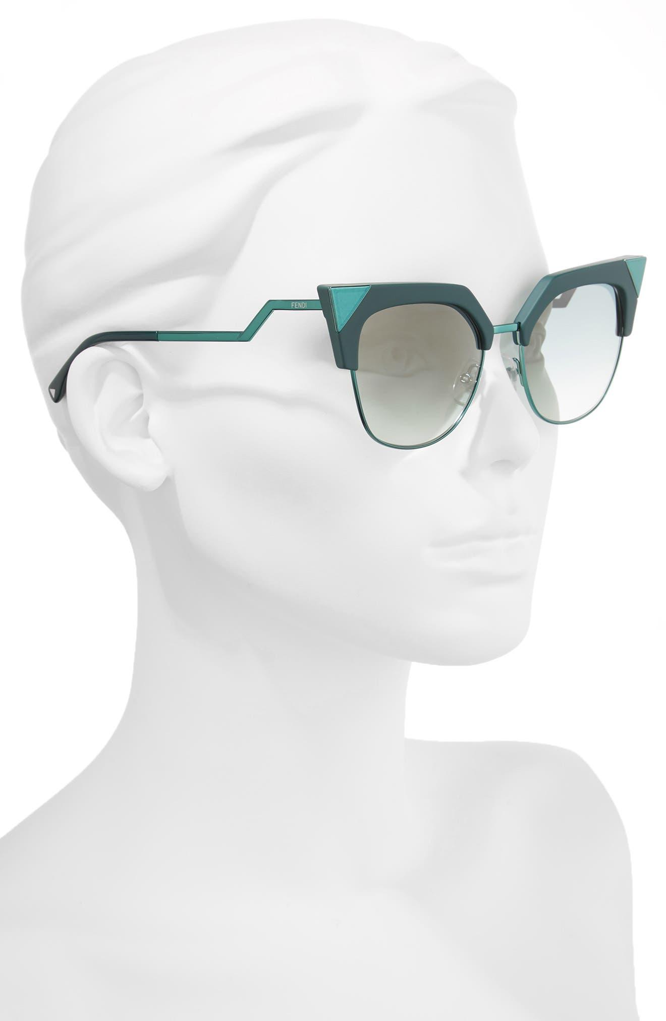 54mm Metal Tipped Cat Eye Sunglasses,                             Alternate thumbnail 2, color,                             GREEN