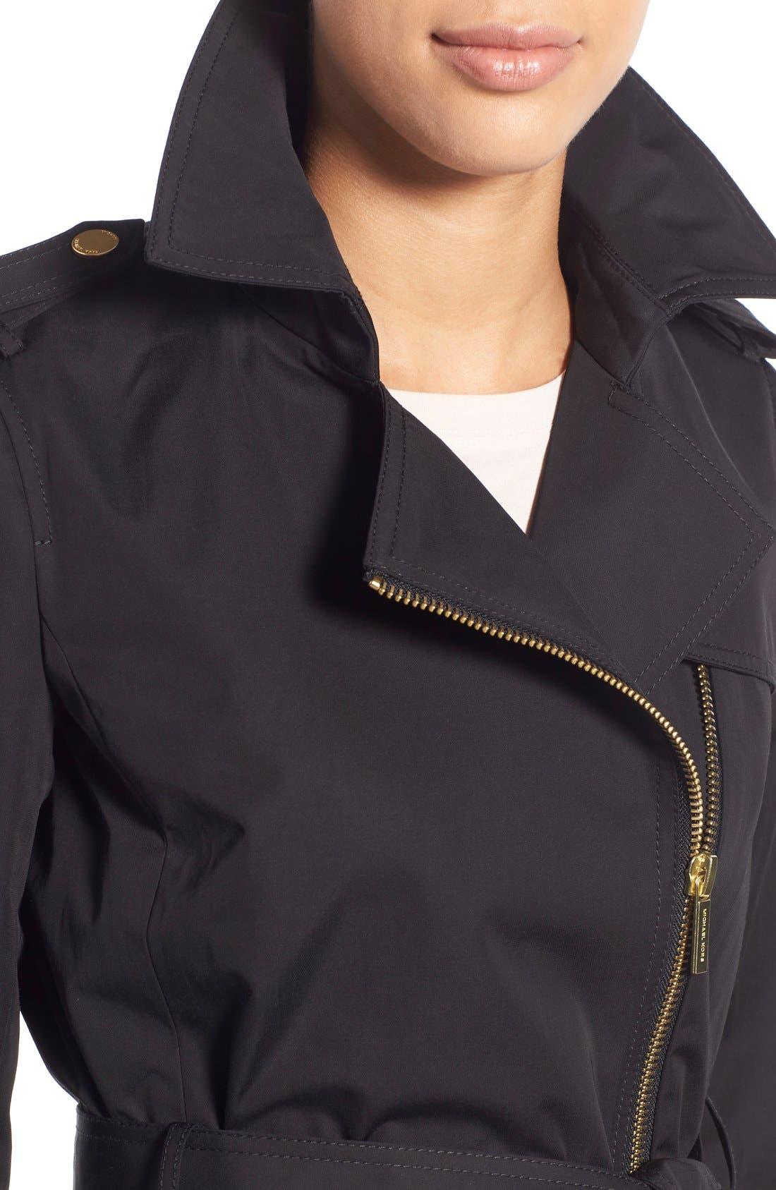 MICHAEL MICHAEL KORS,                             Asymmetrical Zip Sateen Trench Coat,                             Alternate thumbnail 3, color,                             001