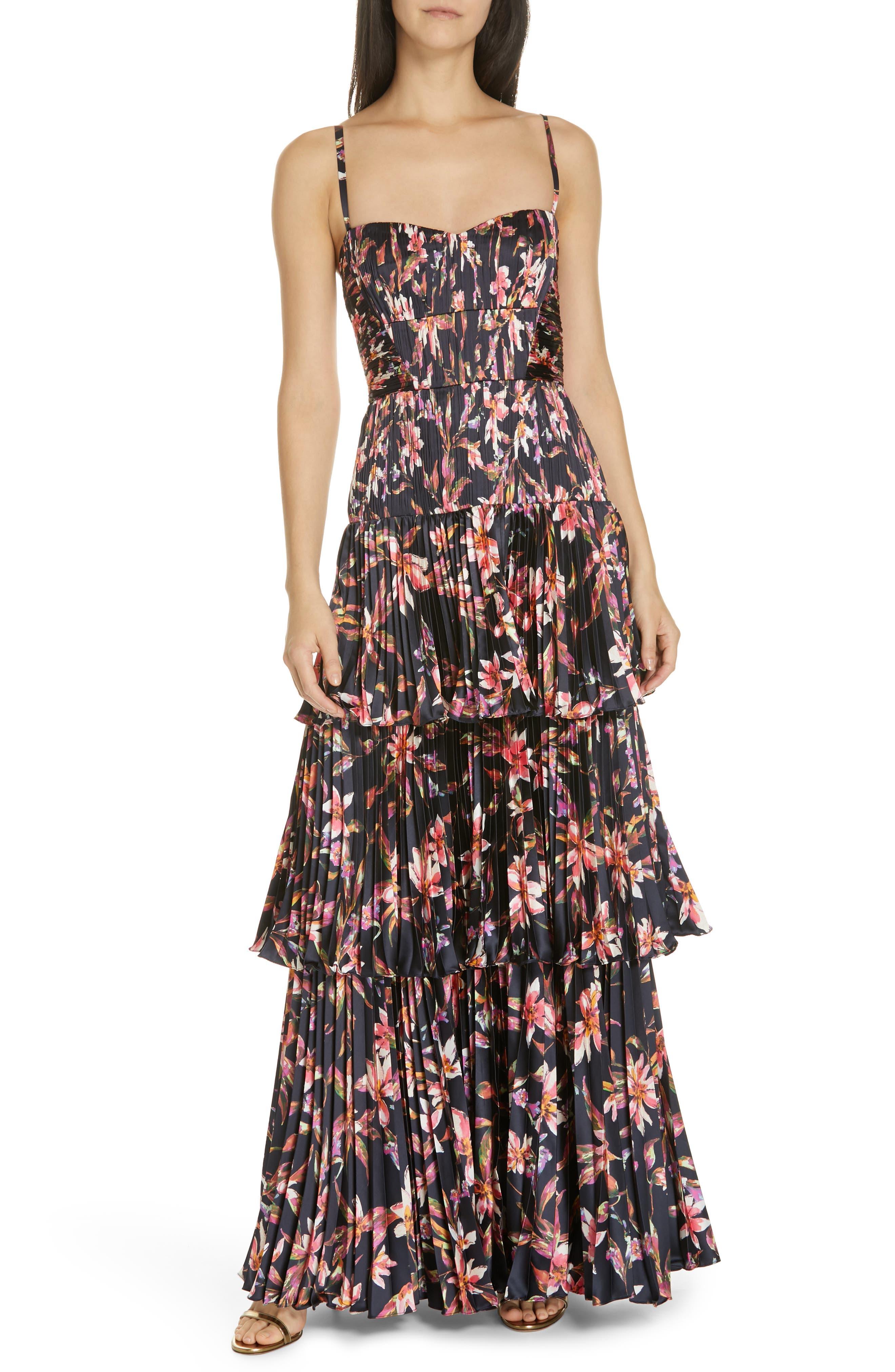 Amur Londyn Pleated Tiered Maxi Dress, Black