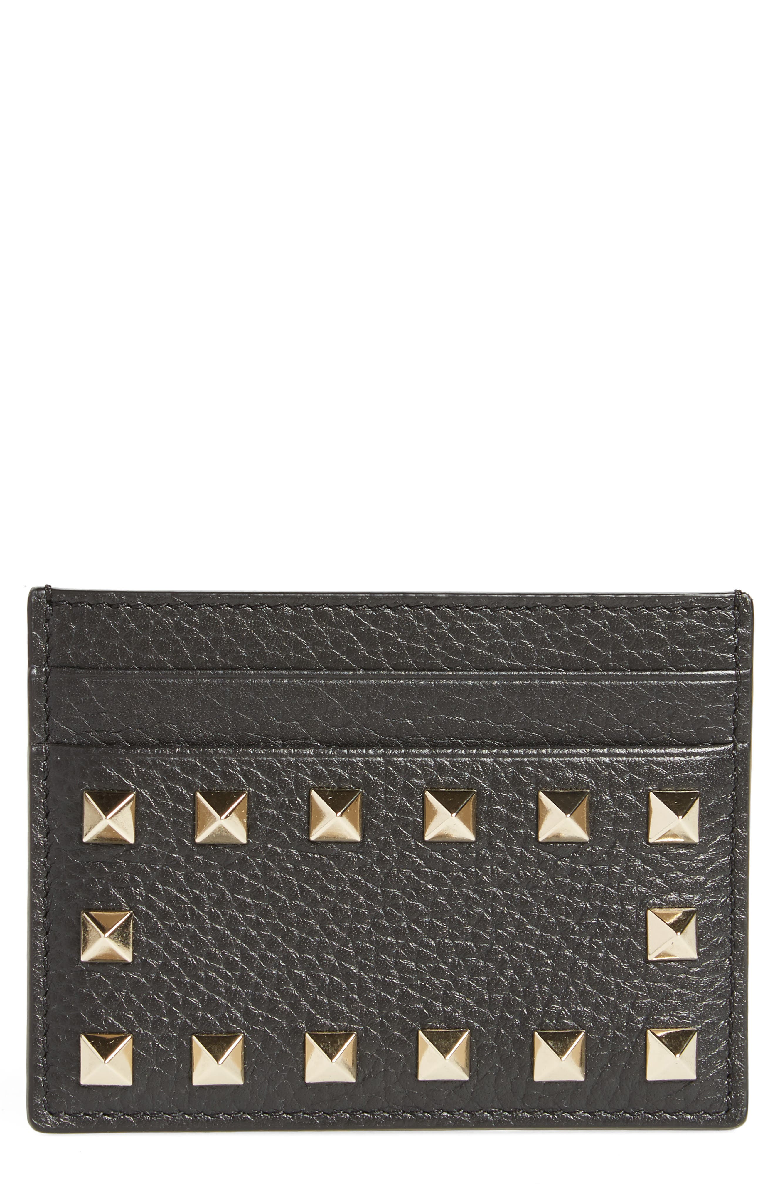 Rockstud Leather Card Holder,                             Main thumbnail 1, color,                             BLACK