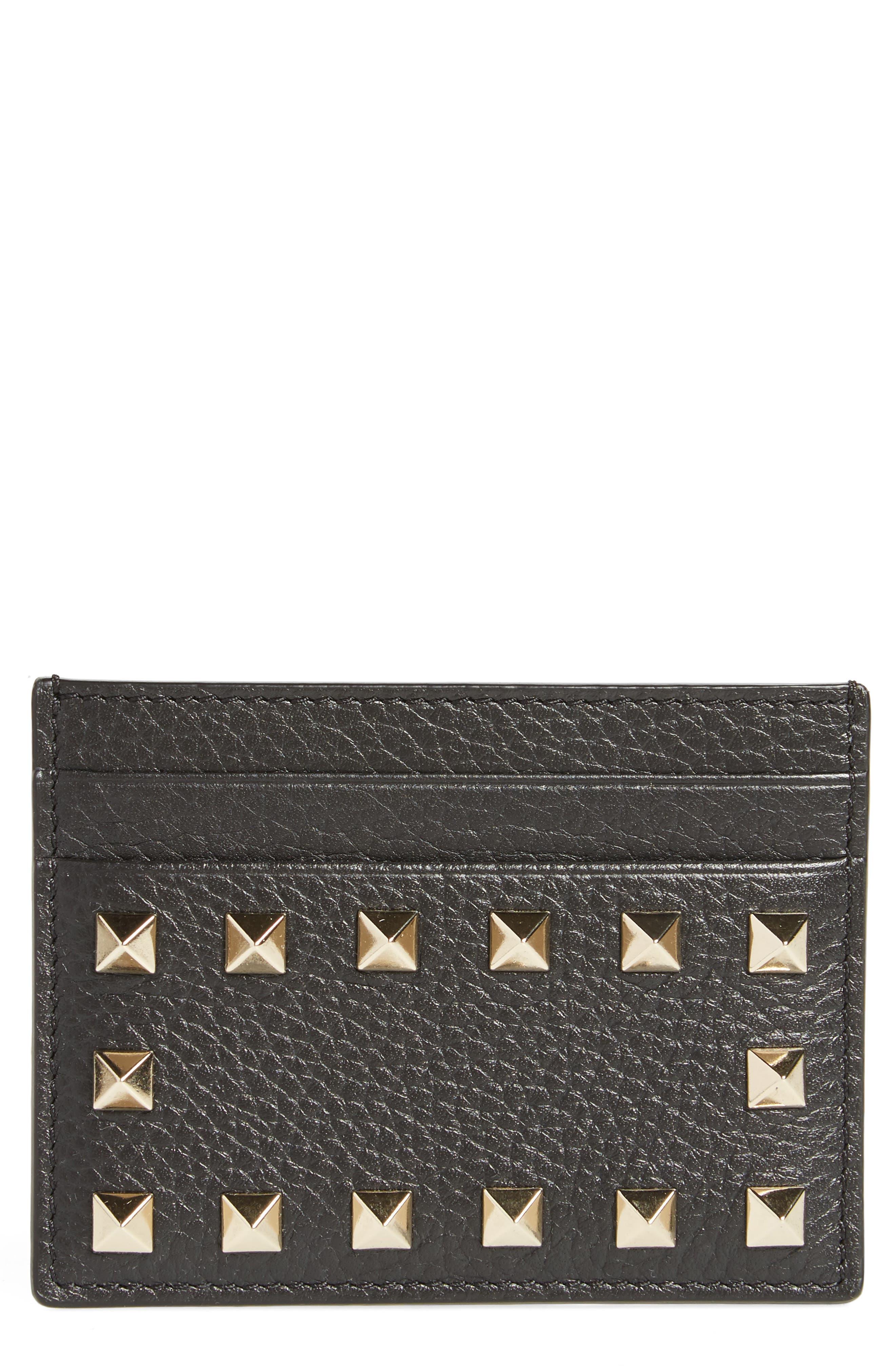 Rockstud Leather Card Holder,                         Main,                         color, BLACK